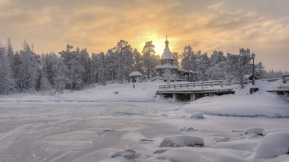 зима, мост, остров, часовня, Гармашов Сергей