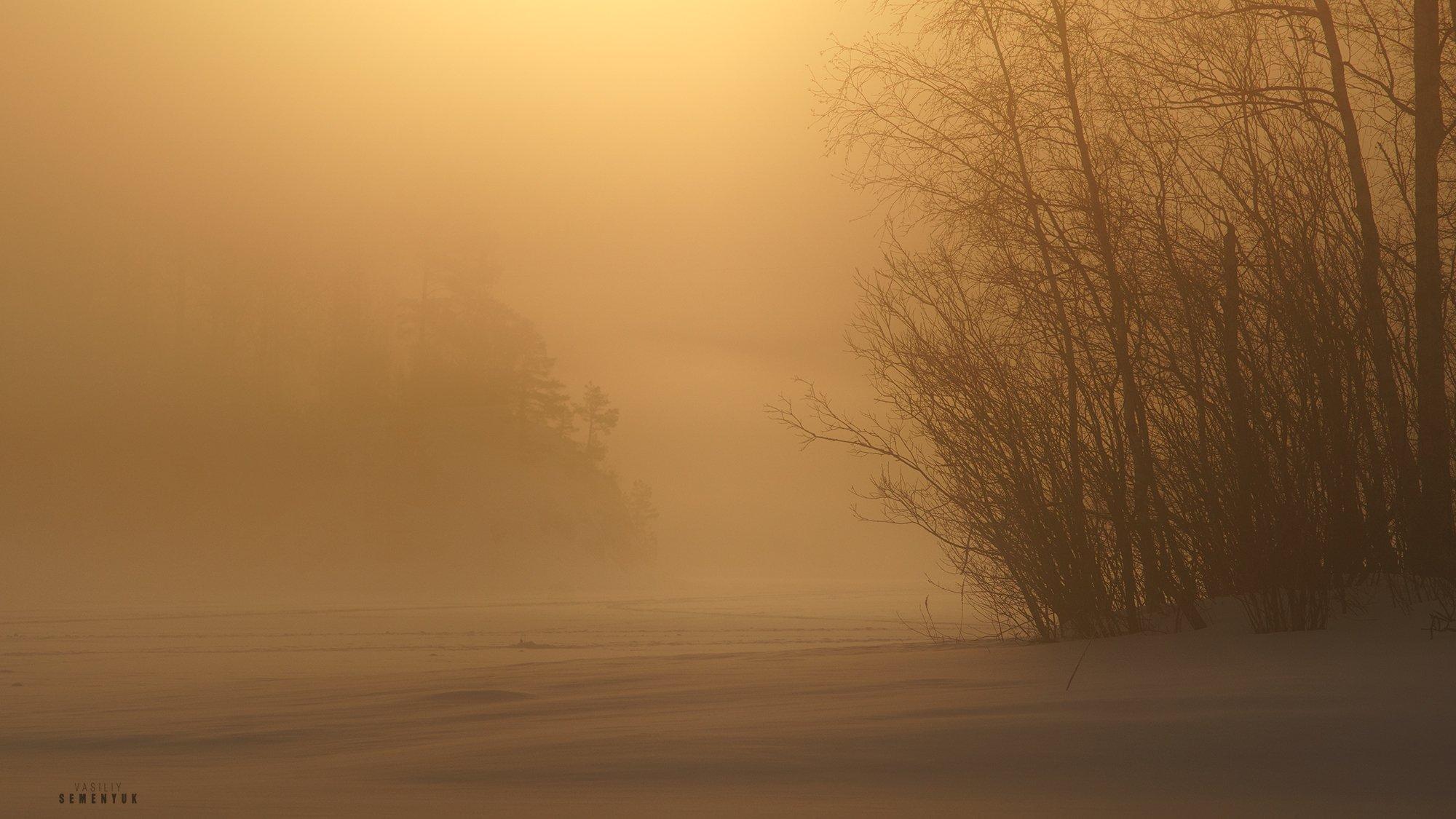 ладога, зима, туман, рассвет, острова, деревья, минимализм, снег, ladoga, lake, winter, fog, ice, snow, sunrise, minimalism., Семенюк Василий