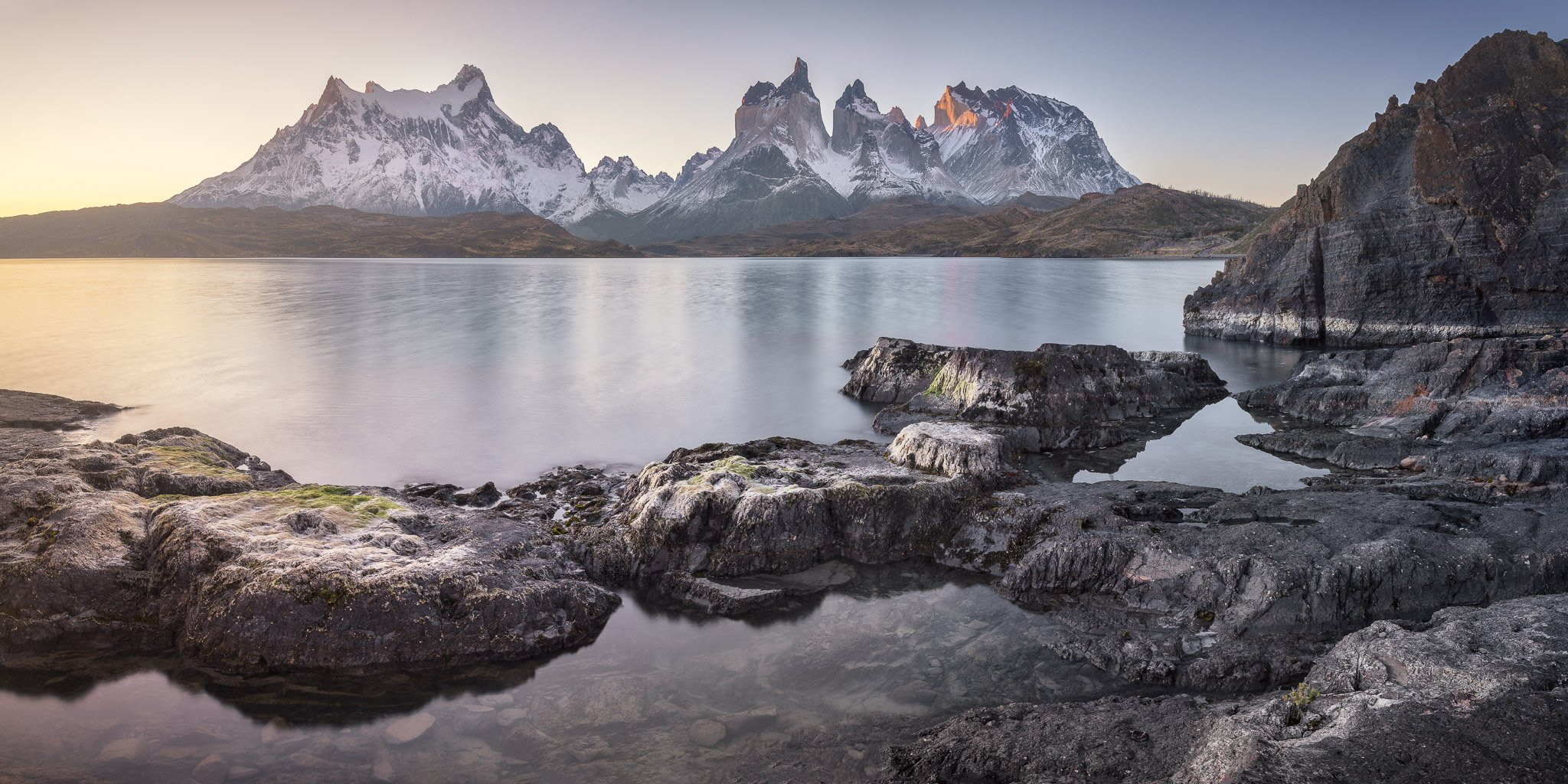 america, andes, basalt, blue, calm, chile, cliff, cuernos, del, dramatic, evening, hiking, history, island, lago, lake, landmark, landscape, light, mountain, national, nature, outdoor, paine, pano, panorama, panoramic, park, patagonia, peak, pehoe, range,, anshar