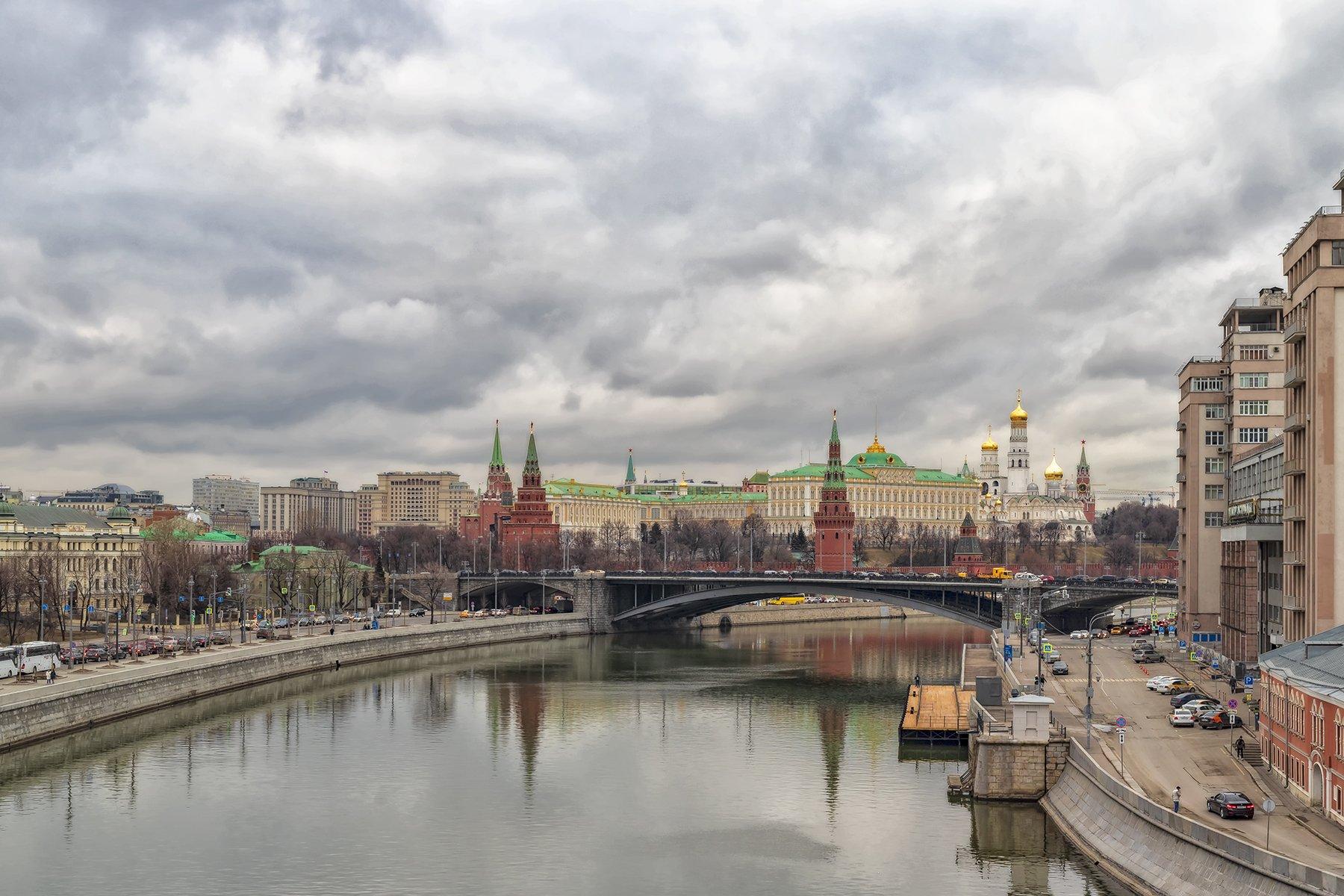 архитектура, город,  весна, кремль, мост, Левко Юрий