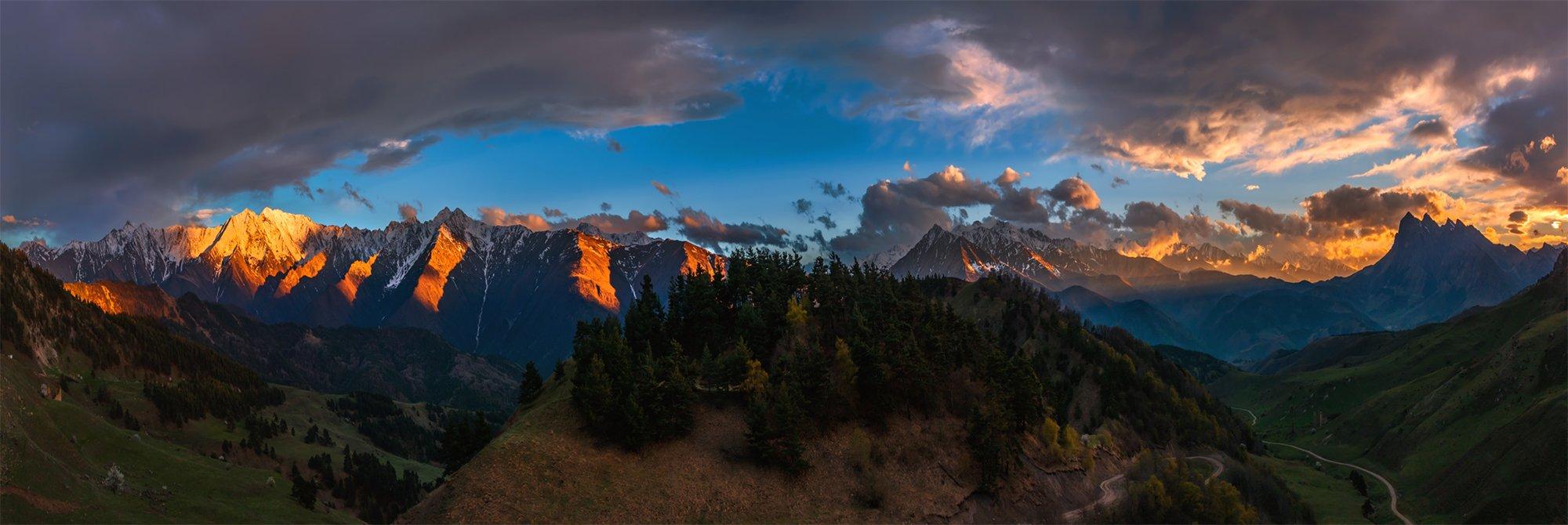 природа, пейзаж, горы, кавказ, природа россии, дикая природа, закат, свет, облака, вечер, весна, панорама, Беляев Альберт