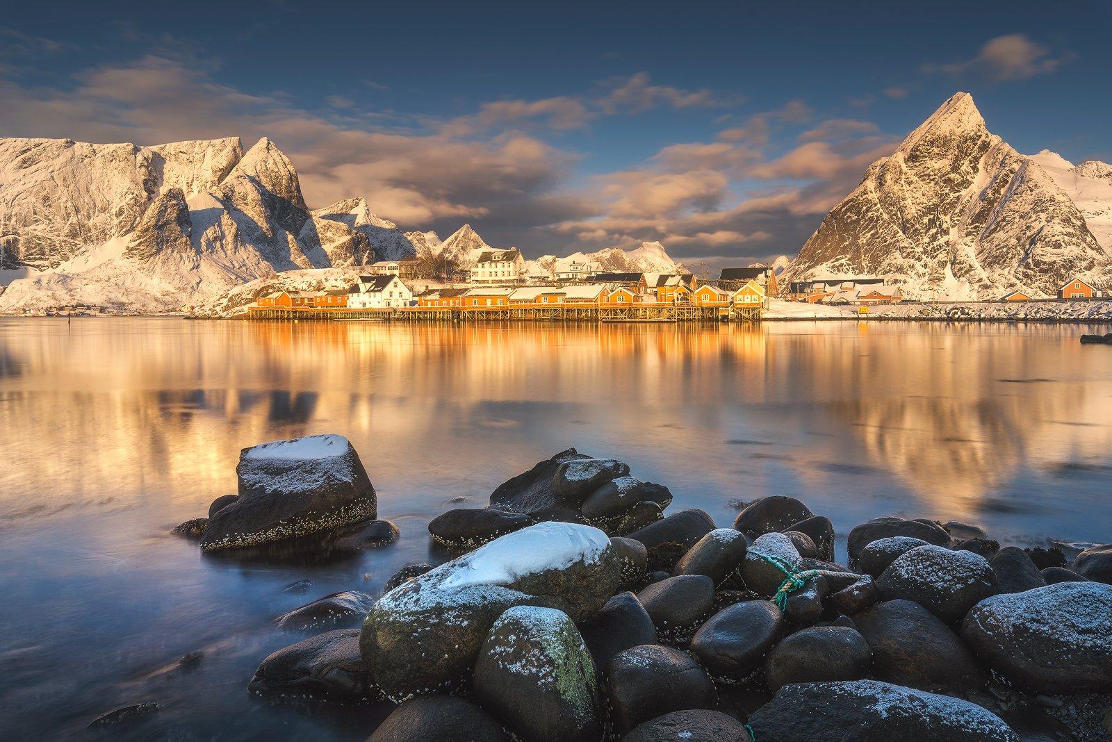 lofoten, sakrisoy, reflections, morning, mountains, seascape, landscape, water, light, Bartłomiej Kończak