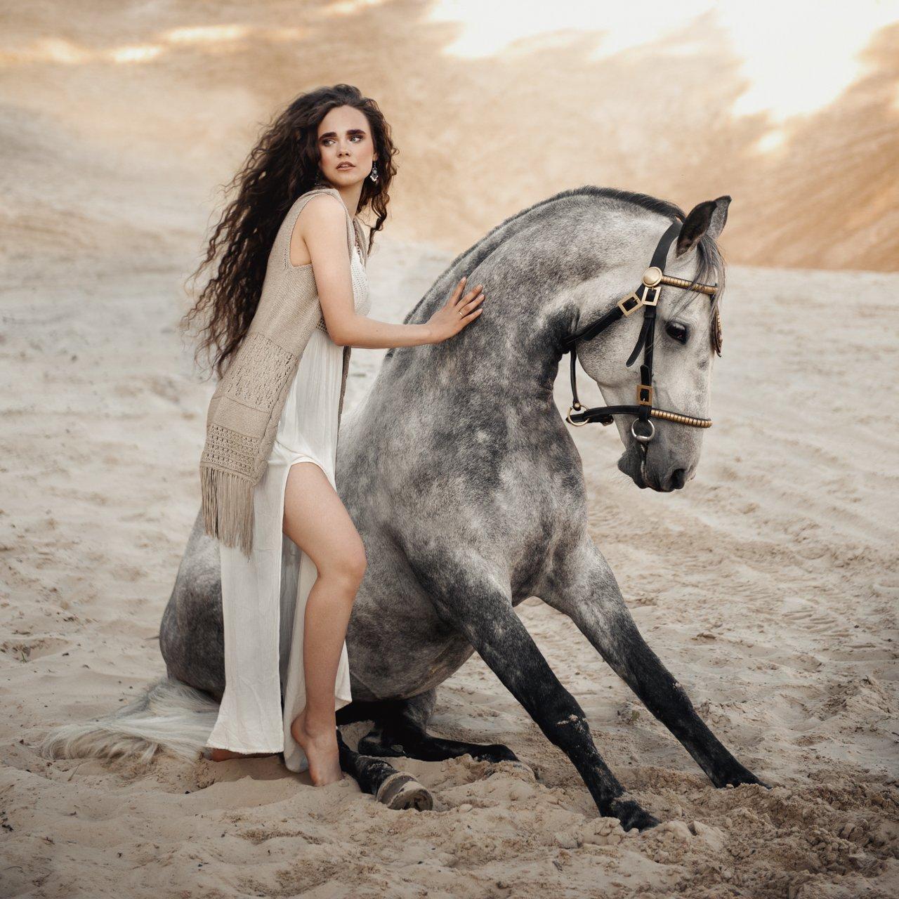 девушка, портрет, конь, Бабинцева Мария