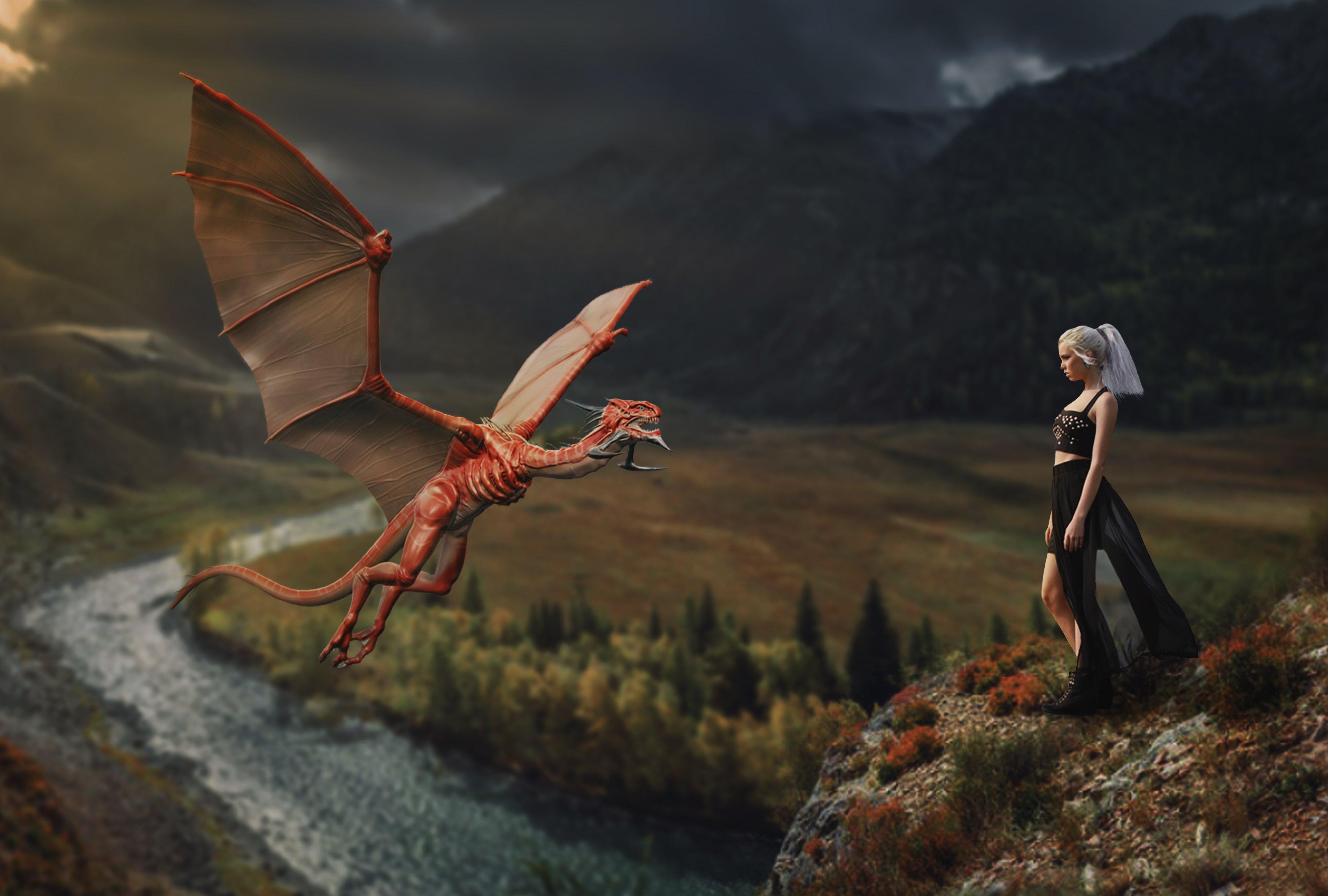 девушка, дракон, горы, Sergii Vidov