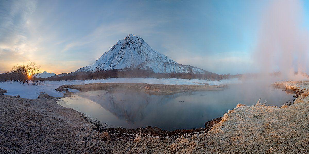 камчатка, пейзаж, озеро, природа, путешествие, фототур, отражение, весна, Денис Будьков
