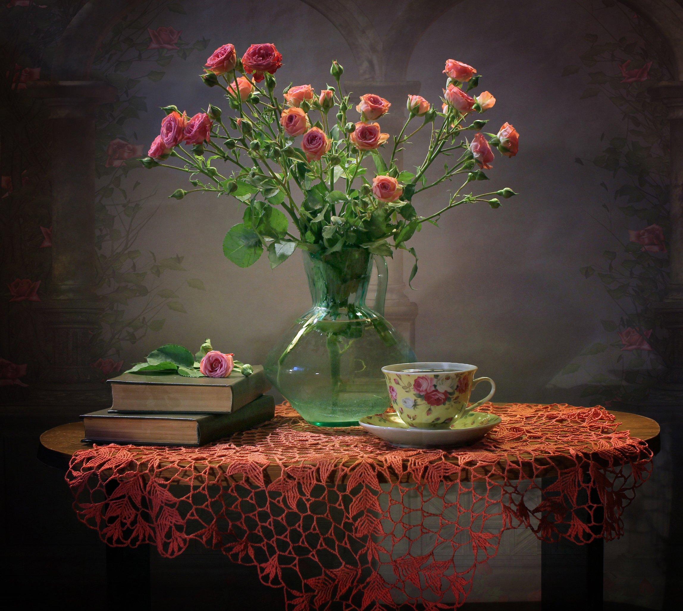 натюрморт, цветы, розы, книги, Ковалева Светлана