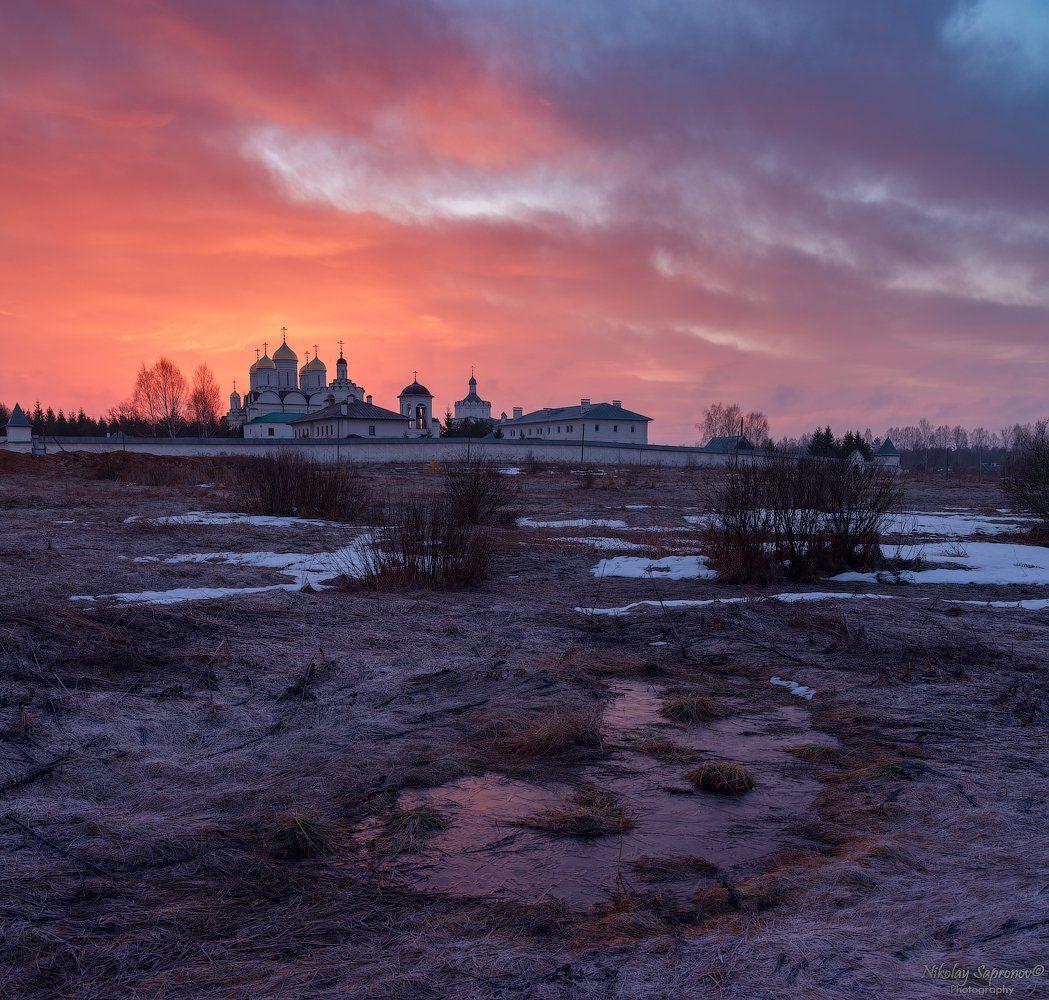 смоленская область, рассвет, проталины, храмы, монастырь, март, весна, заморозки, заря, Николай Сапронов