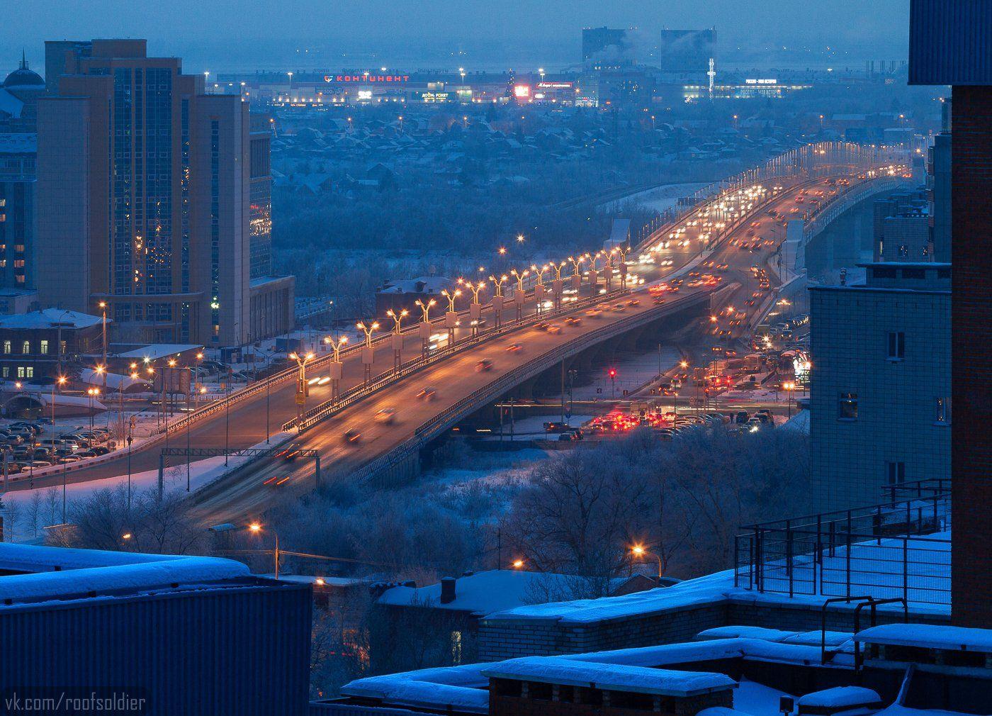Омск, Россия, ночь, зима, крыша, мост, город, пейзаж, Голубев Алексей