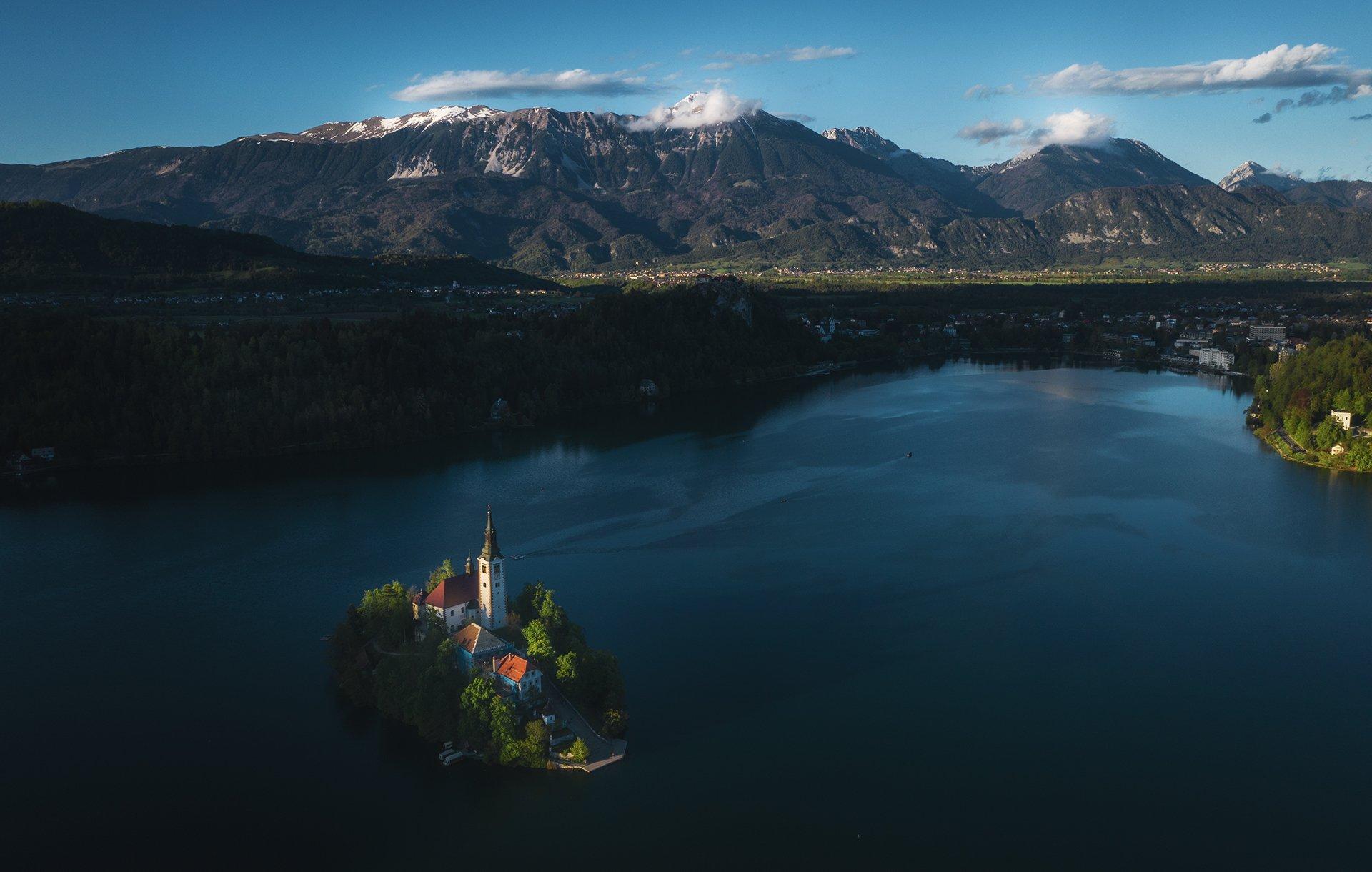 slovenia, bled, lake, alps, dusk, evening, landscape, словения, озеро, блед, альпы, вечер, пейзаж, Дмитрий Иванов