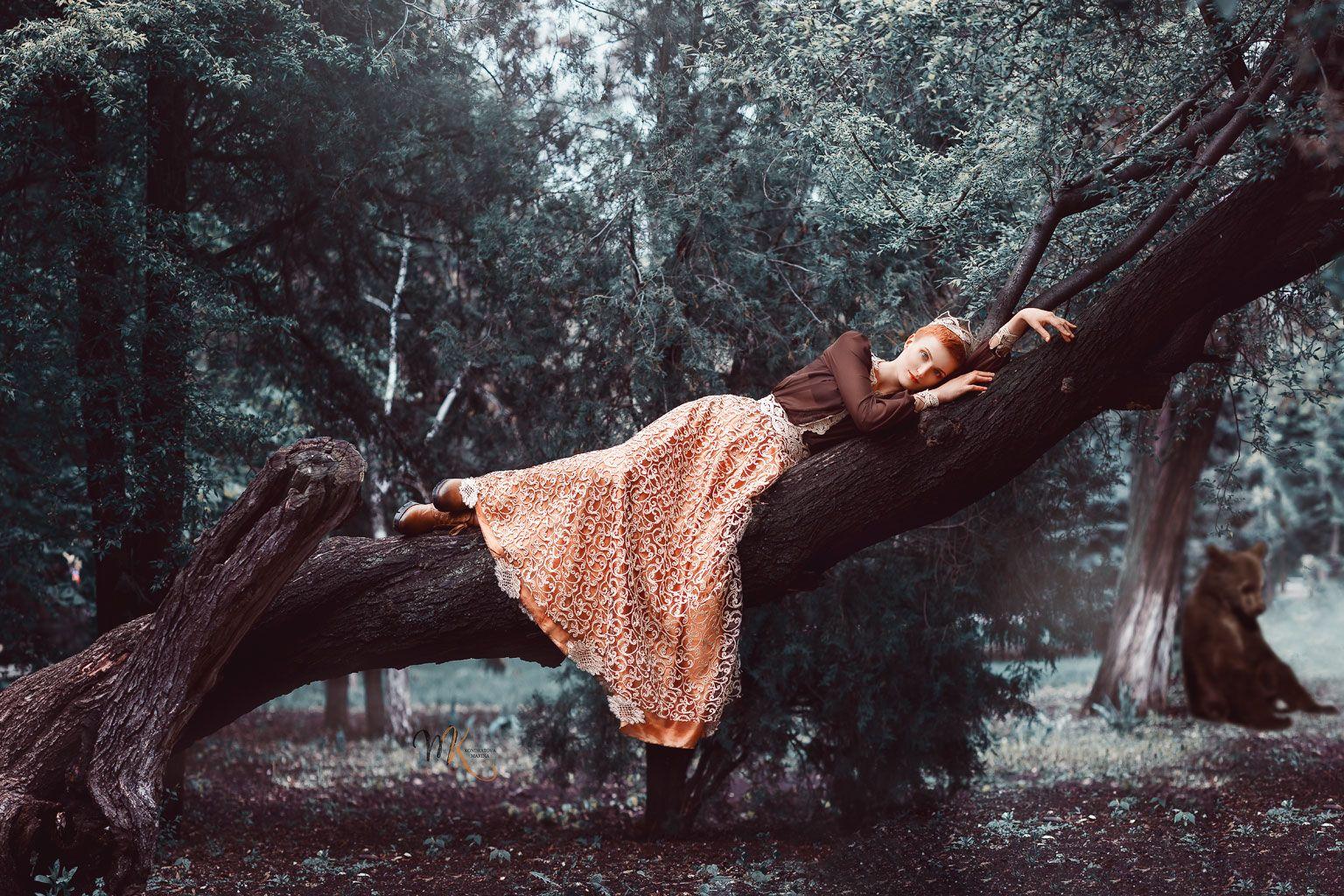 арт, лес, сад, девушка, рыжая, медвежонок, сказка, художественный, Марина Кондратова