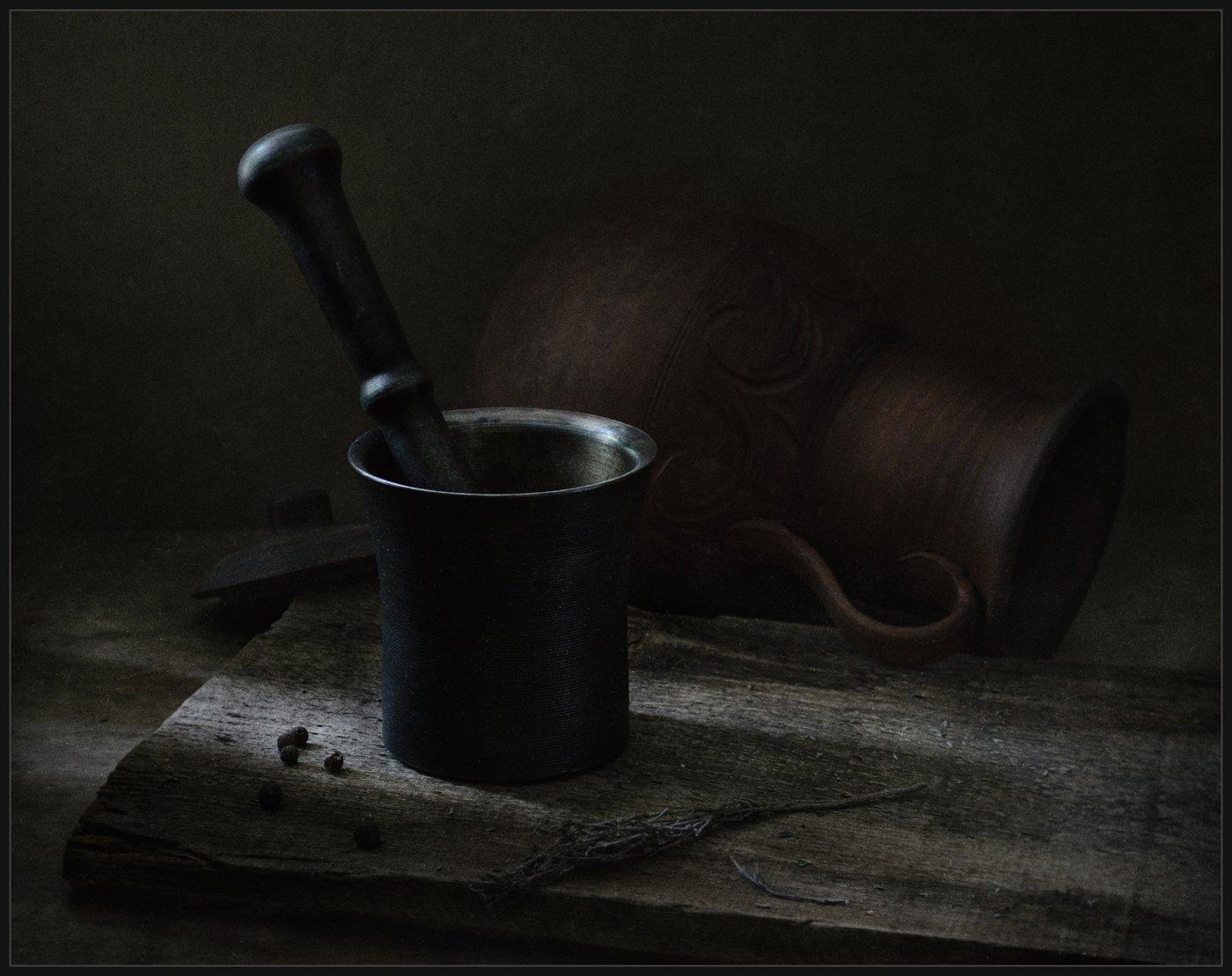 натюрморт, still life, ступка, кувшин, Андрей Угренинов