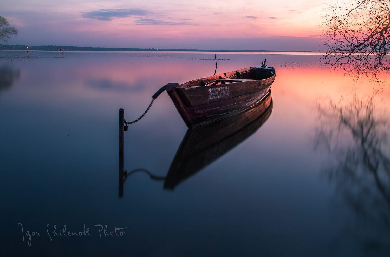 отражение, озеро, закат, лодка, весна, плещеево, озеро, переславль залесский, Игорь Шиленок