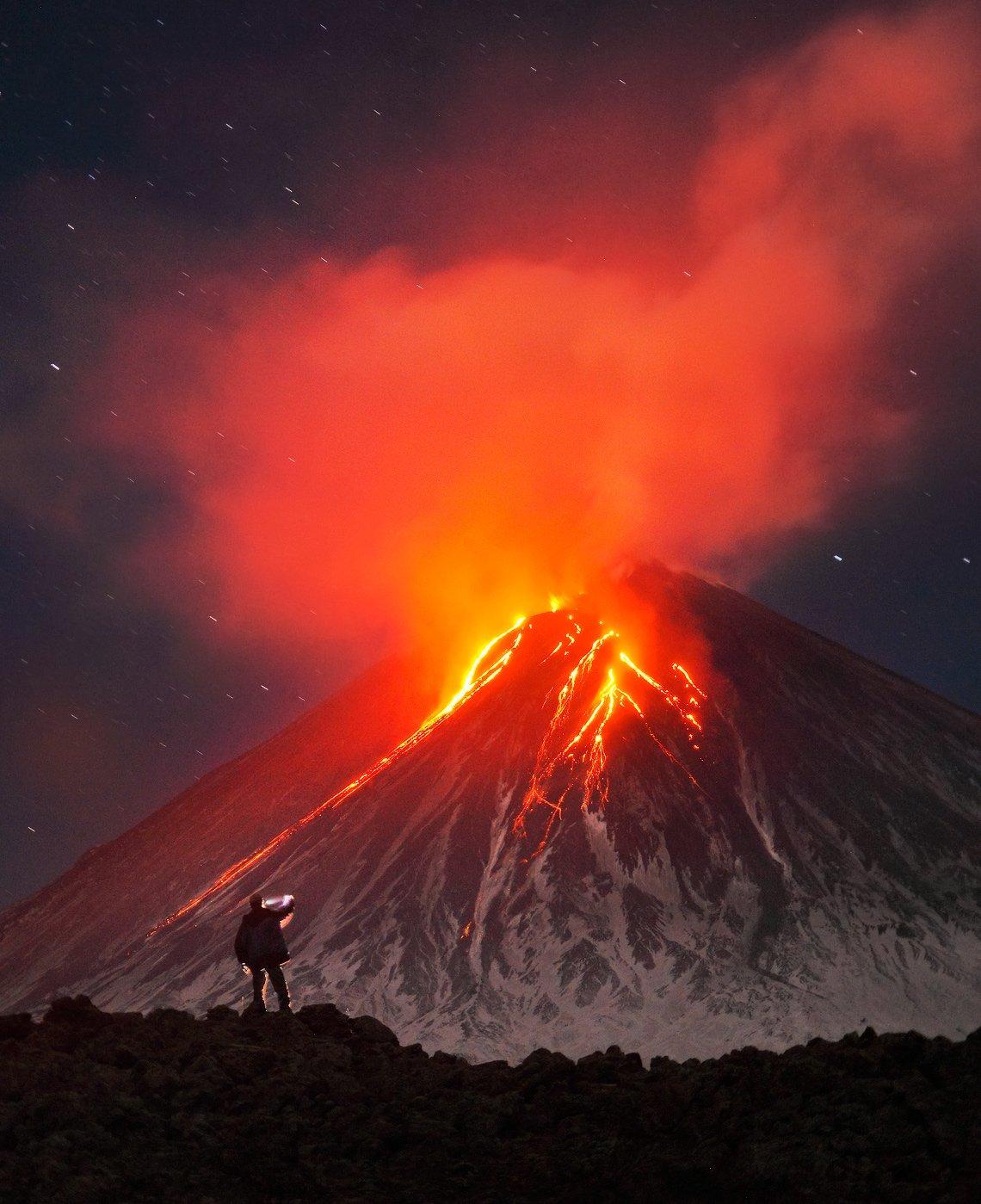 камчатка, вулкан, ключевской, извержение,, Бродяга с севера