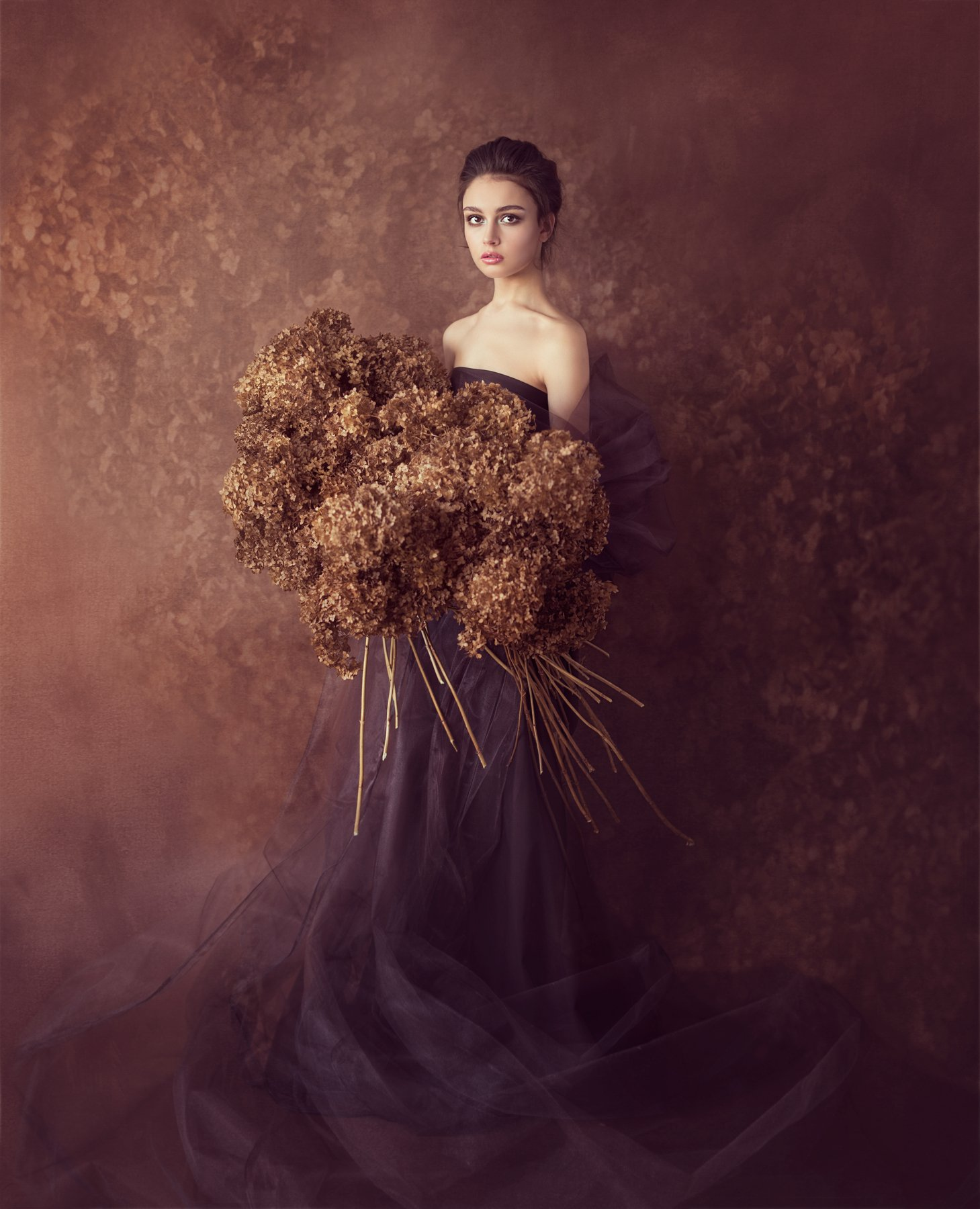 портрет цветы сухоцвет девушка, Попова Валентина