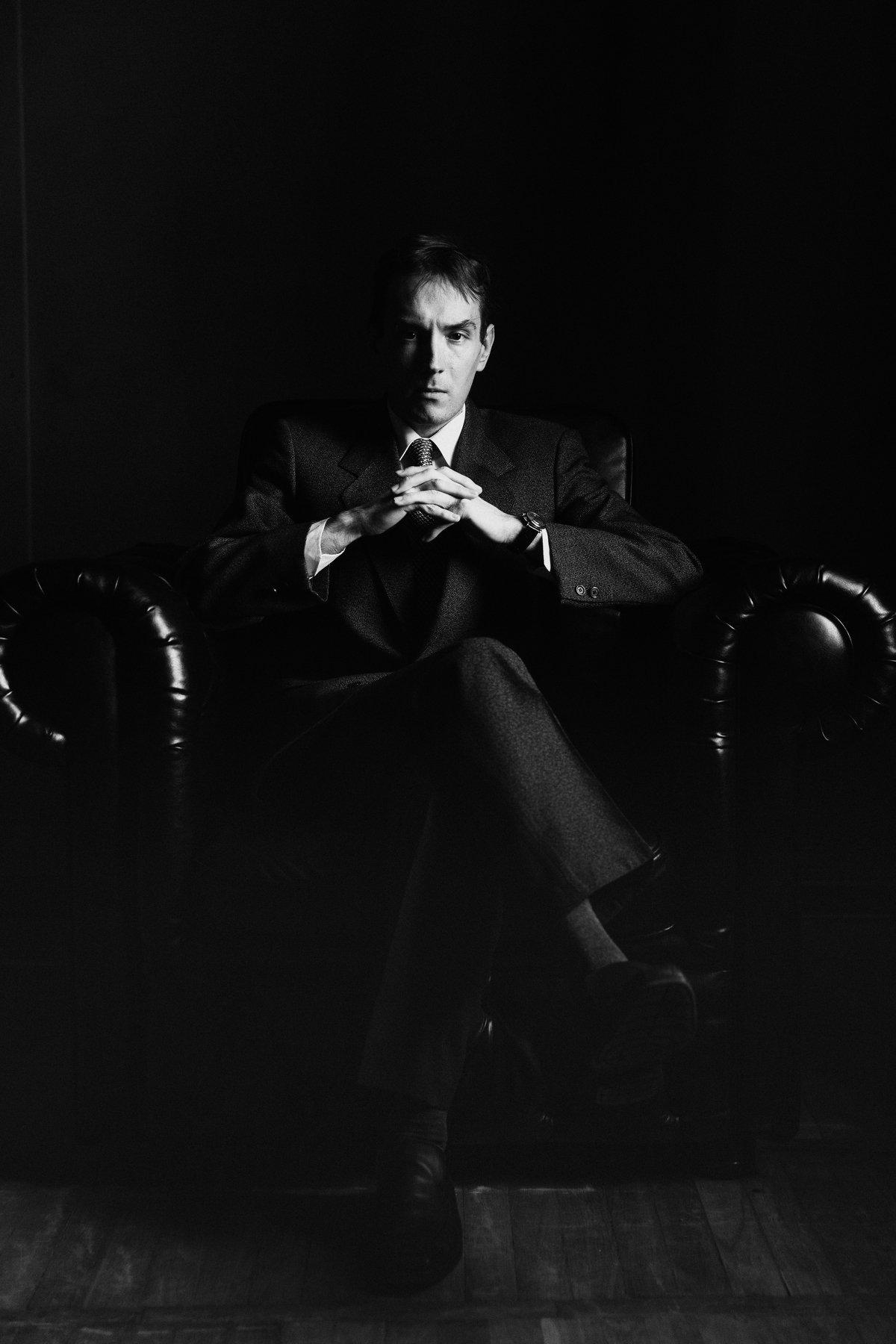 мужчина портрет черно белое чб, Моско Роман