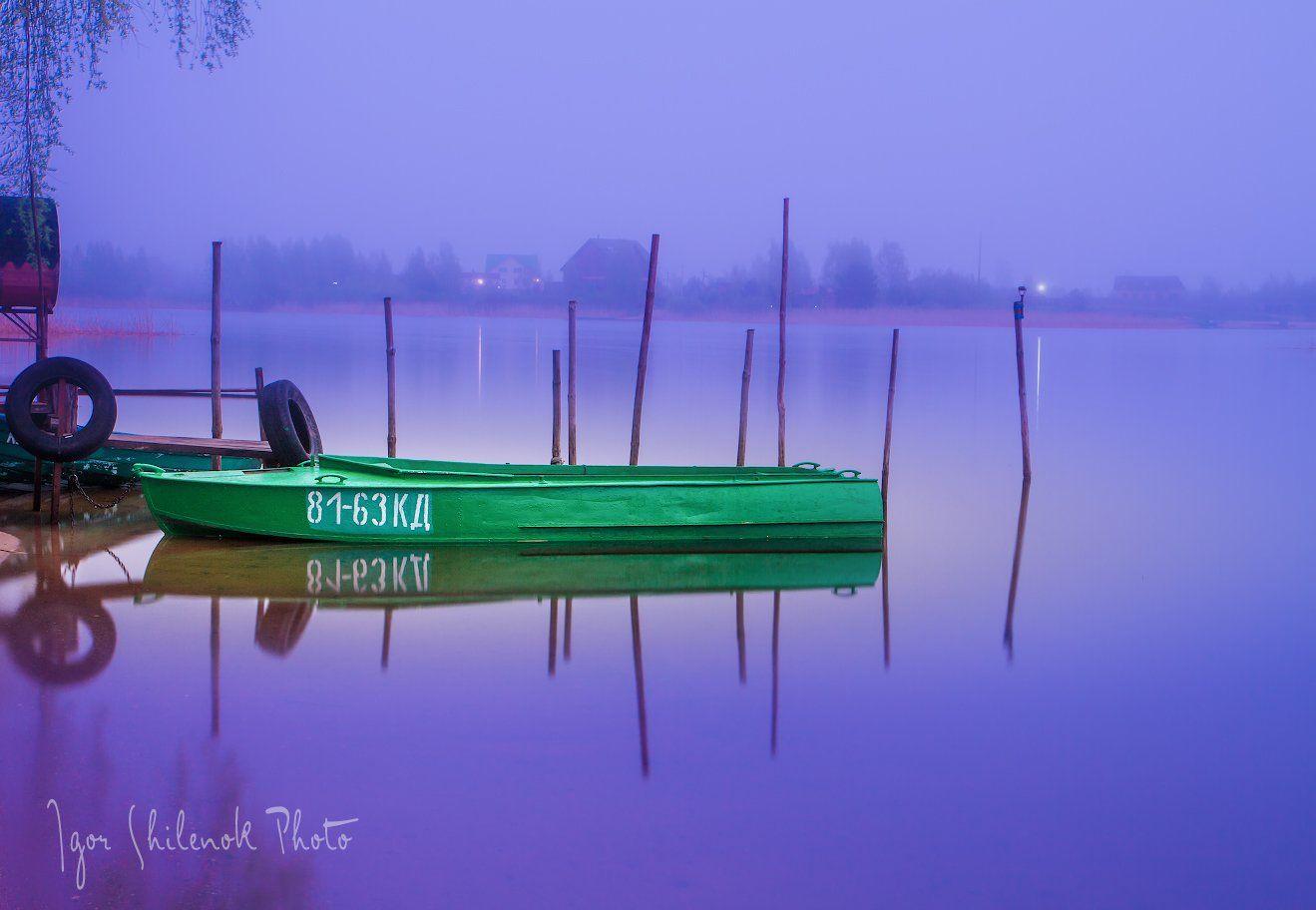 отражение, озеро, закат, лодка, весна, селигер, озеро, Игорь Шиленок