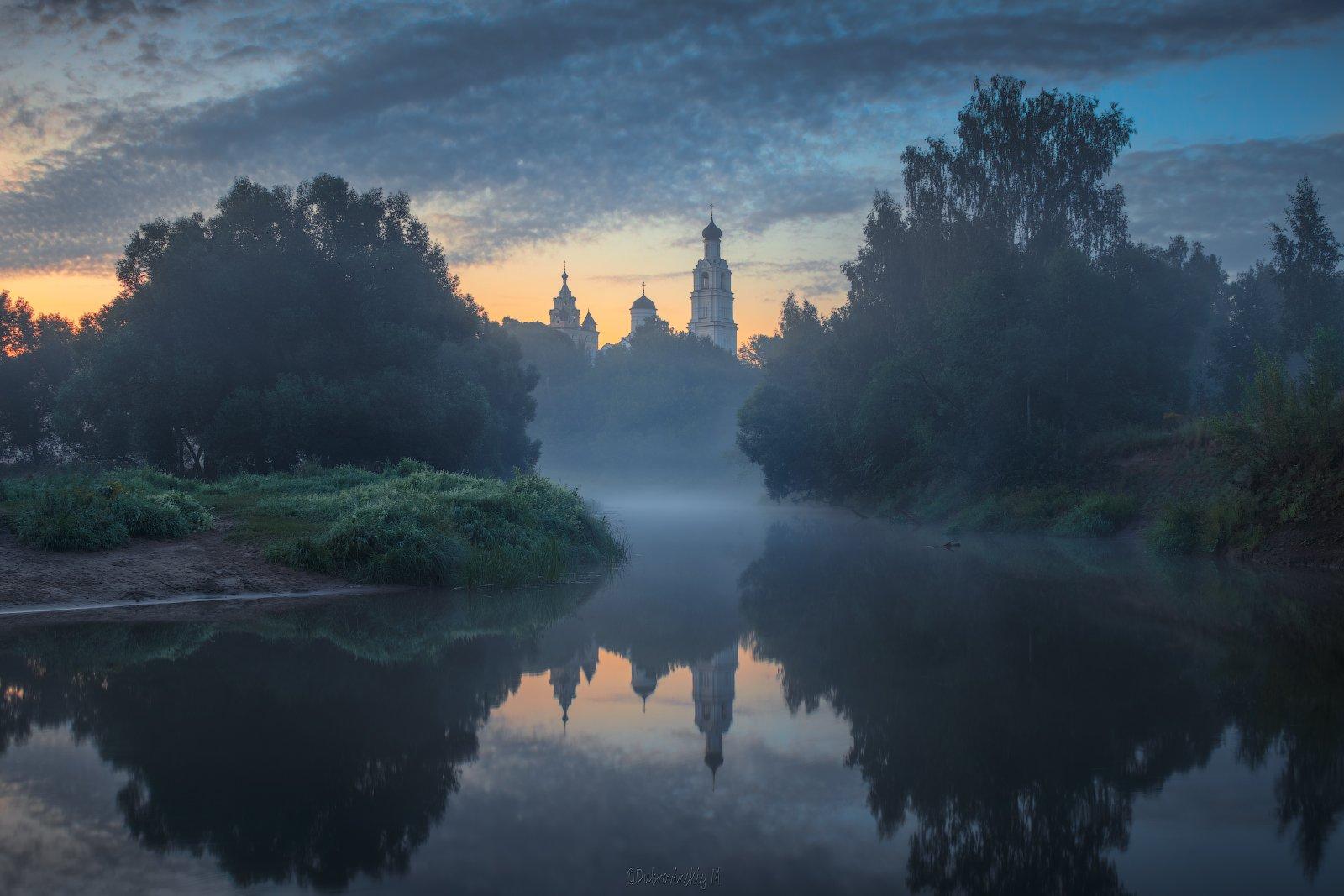 киржач, река, туман, храм, рассвет, владимирская область, Дубровинский Михаил