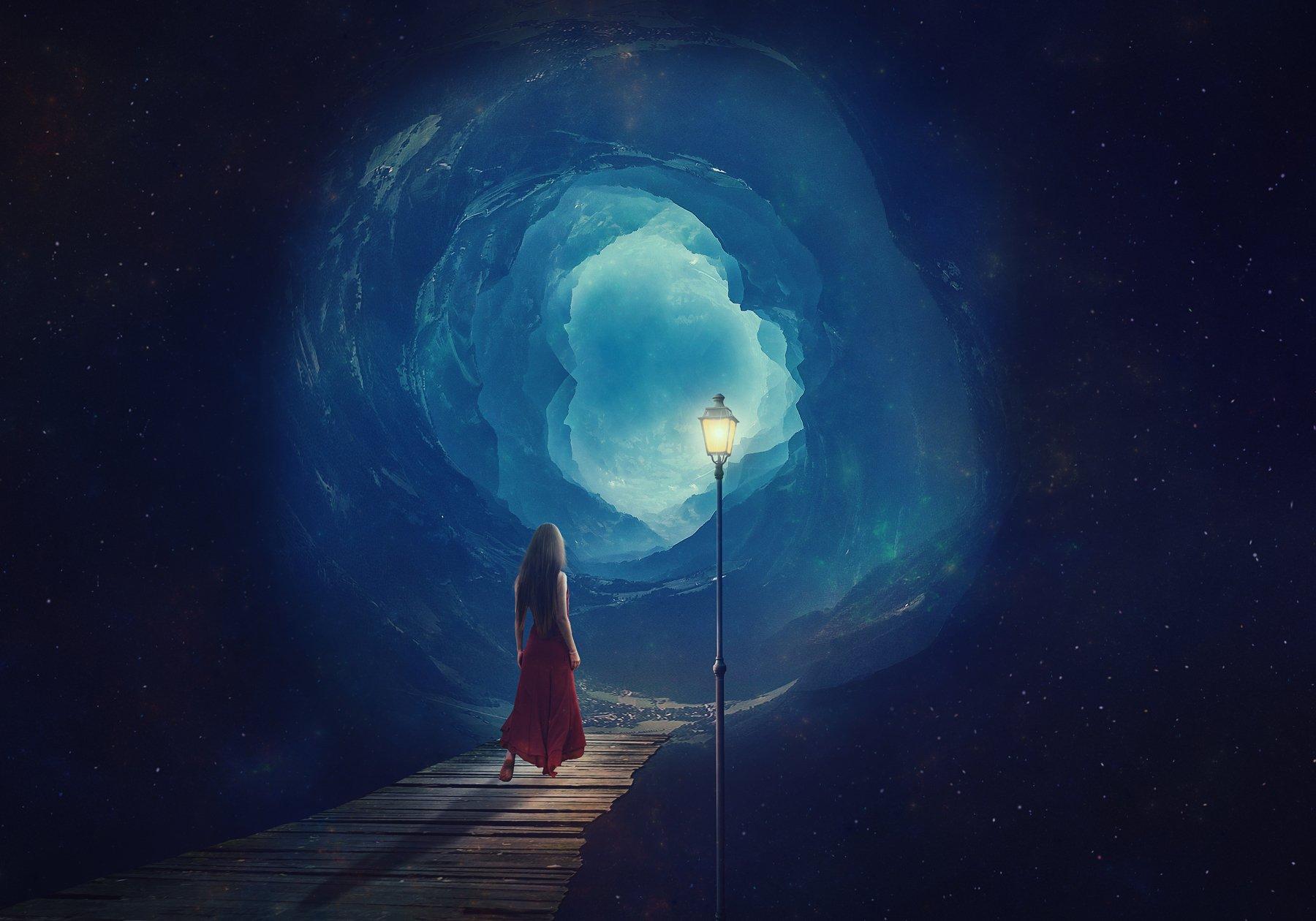 девушка, мост, фонарь, звезды, Sergii Vidov