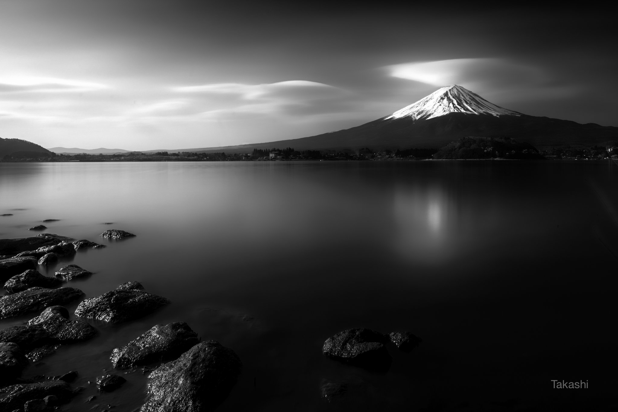 fuji, mountain,cloud,lake,water,rock,calm,amazing,, Takashi