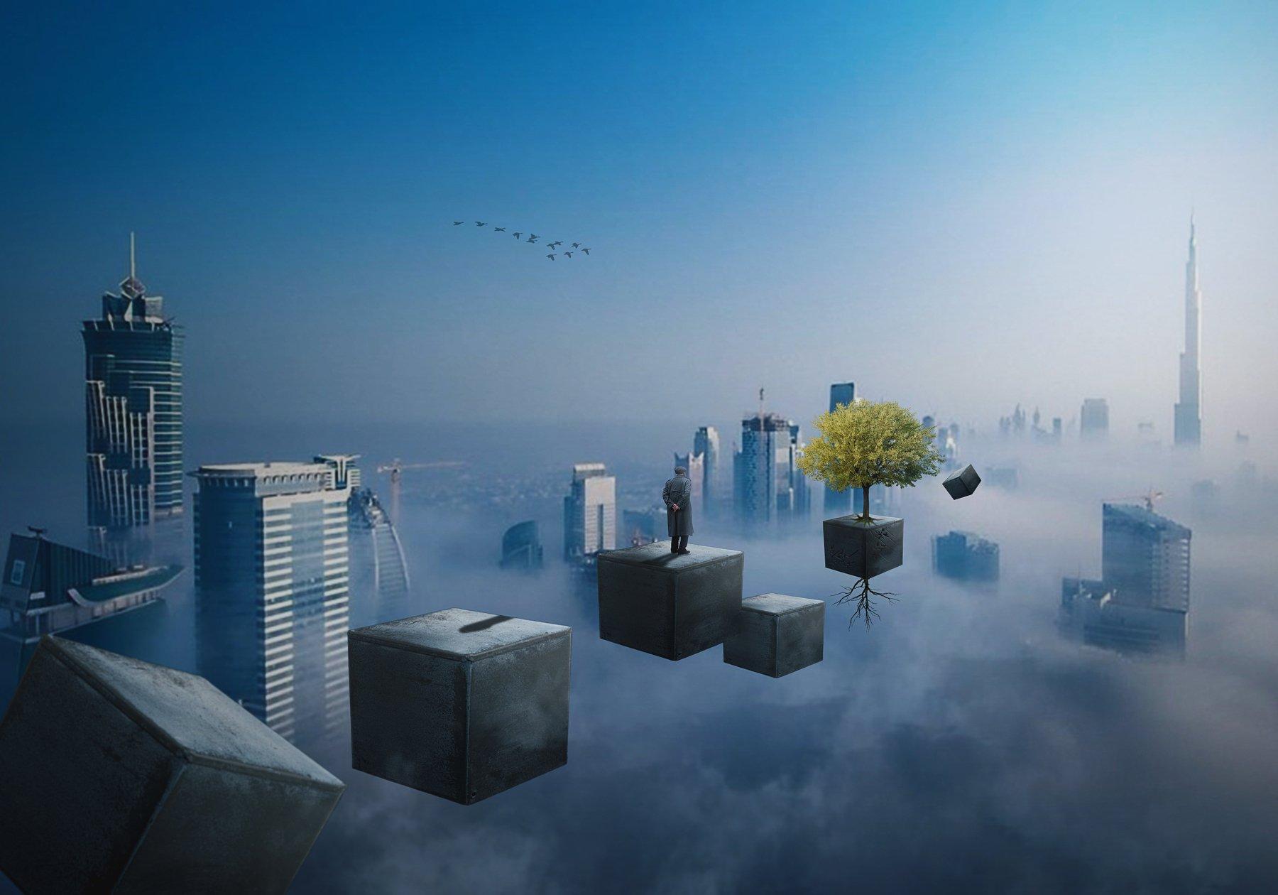 облака, старик, высотки, ящик, дерево, Sergii Vidov