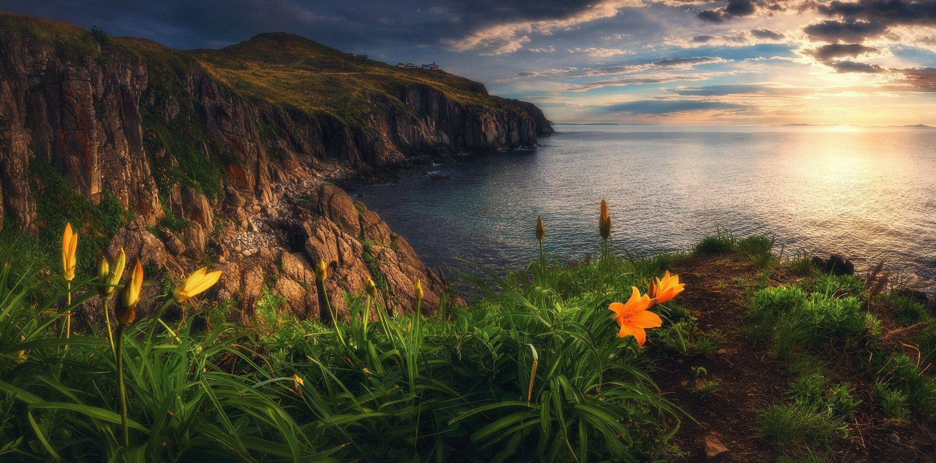 панорама, море, скалы, маяк, утро, лето, Андрей Кровлин