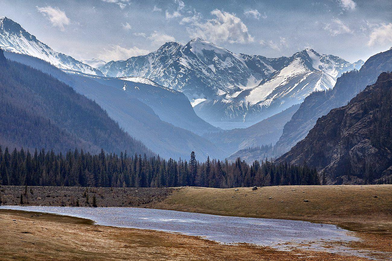 алтай, ледник актру, актру, алтайский край, долина, весна,осень, лиственницы, ледник,ледники, Качурин Алексей