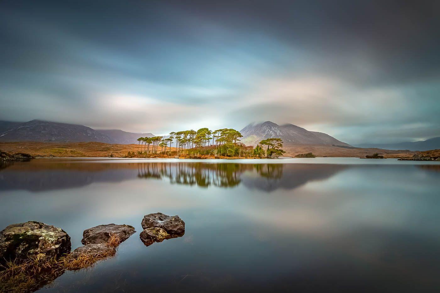 #landscape, #seascape, #waterscape, #lake, #mirror, #reflection, #dynamic, #calm, #sky, #clouds, #island, #trees, #stones, #ireland, #canon, #longexposure, #nature, #beautiful, #colorful, #mountains, Karolina Konsur