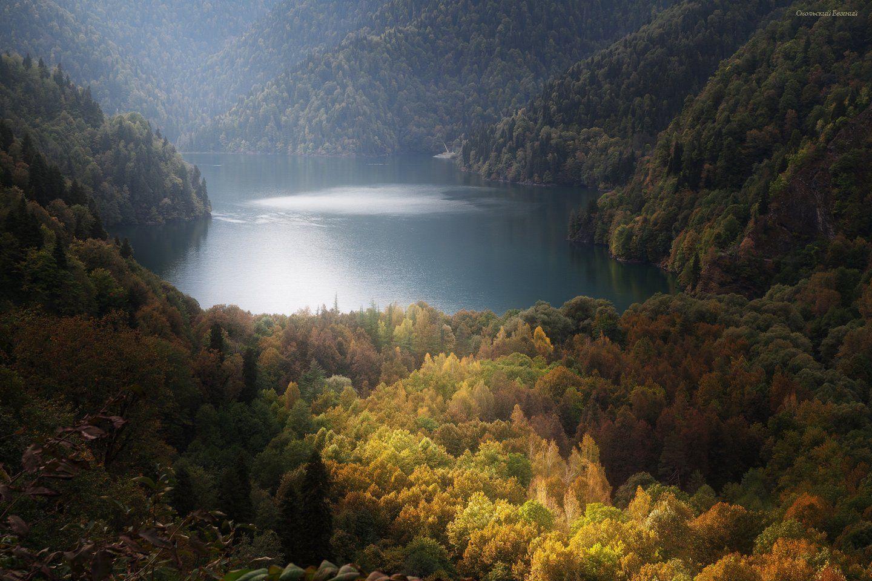 горы, абхазия, оз рица, вершина, осень, пасмурно, лес., Смольский Евгений