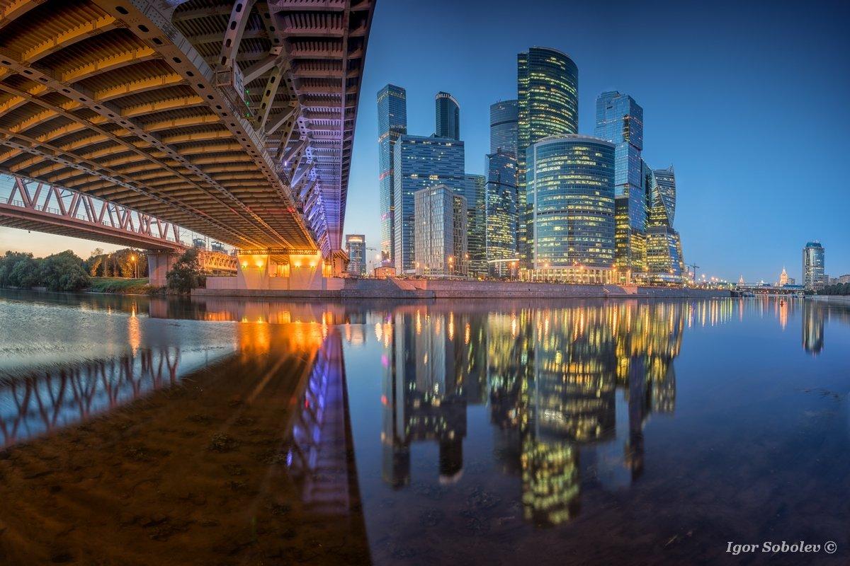москва-сити, отражение, москва, вечер, moscow city, reflection, moscow, evening, Игорь Соболев