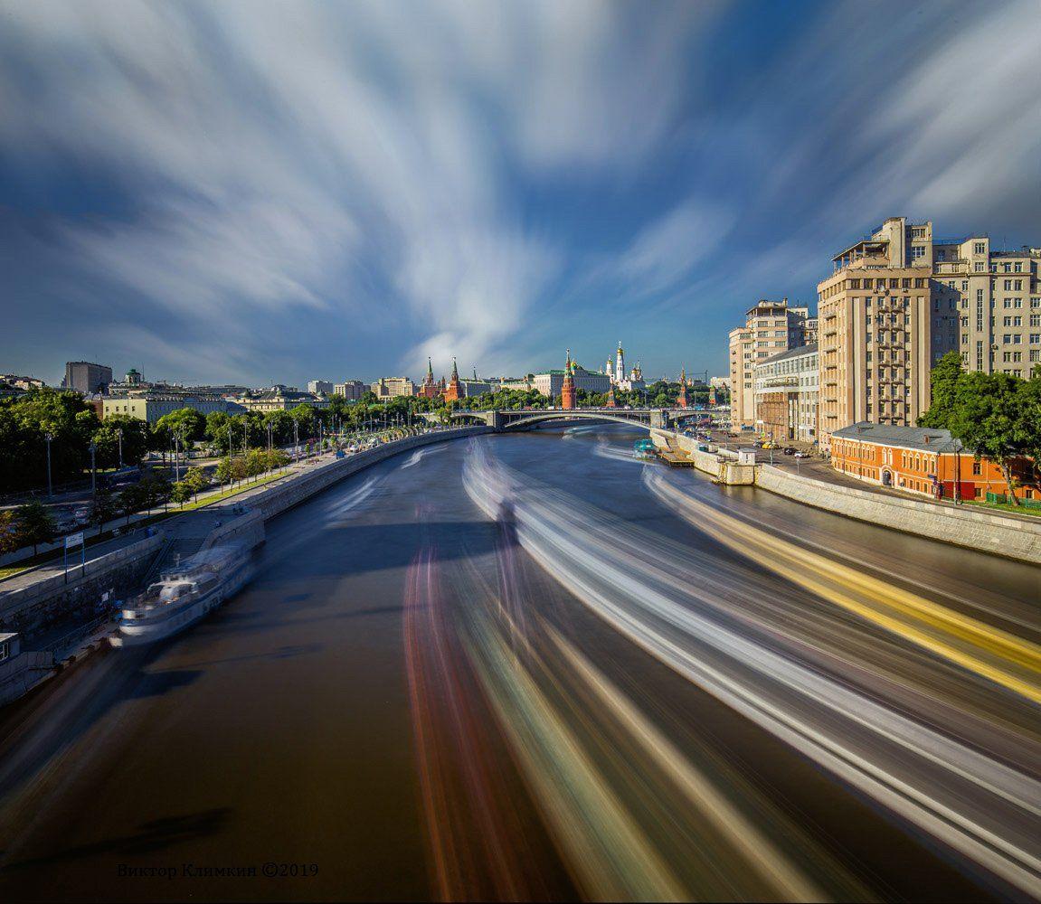 москва, река, облака, кремль, длинная выдержка, Виктор Климкин