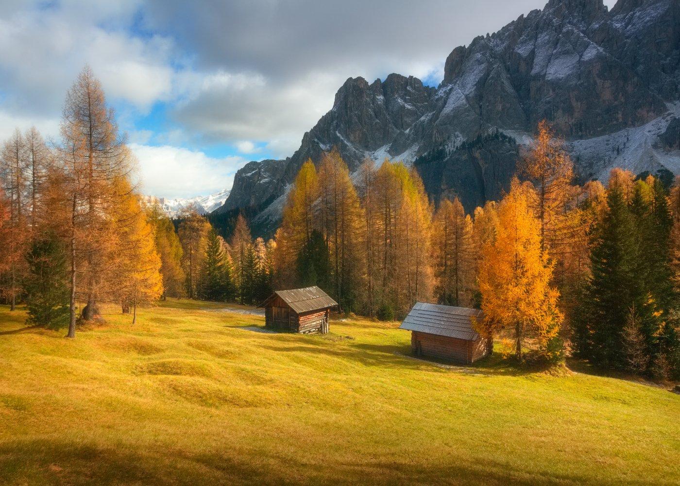 осень, небо, горы, Доломиты, Cтанислав Малых