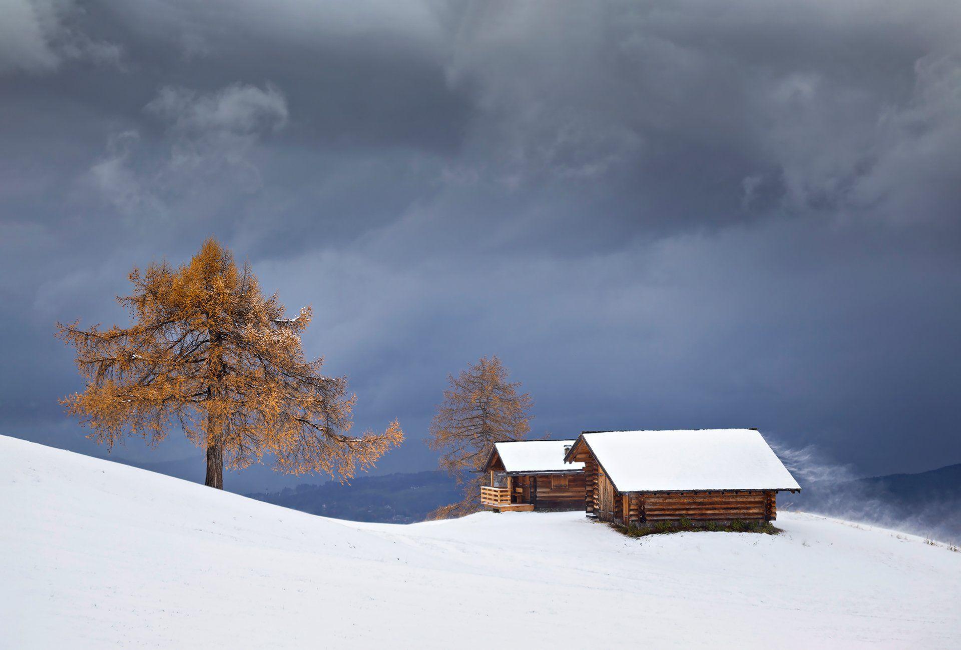 mountains, dolomites, italy, trees, landscape, nature, travel, sunset, autumn, clouds, house, snow, Lazar Ioan Ovidiu
