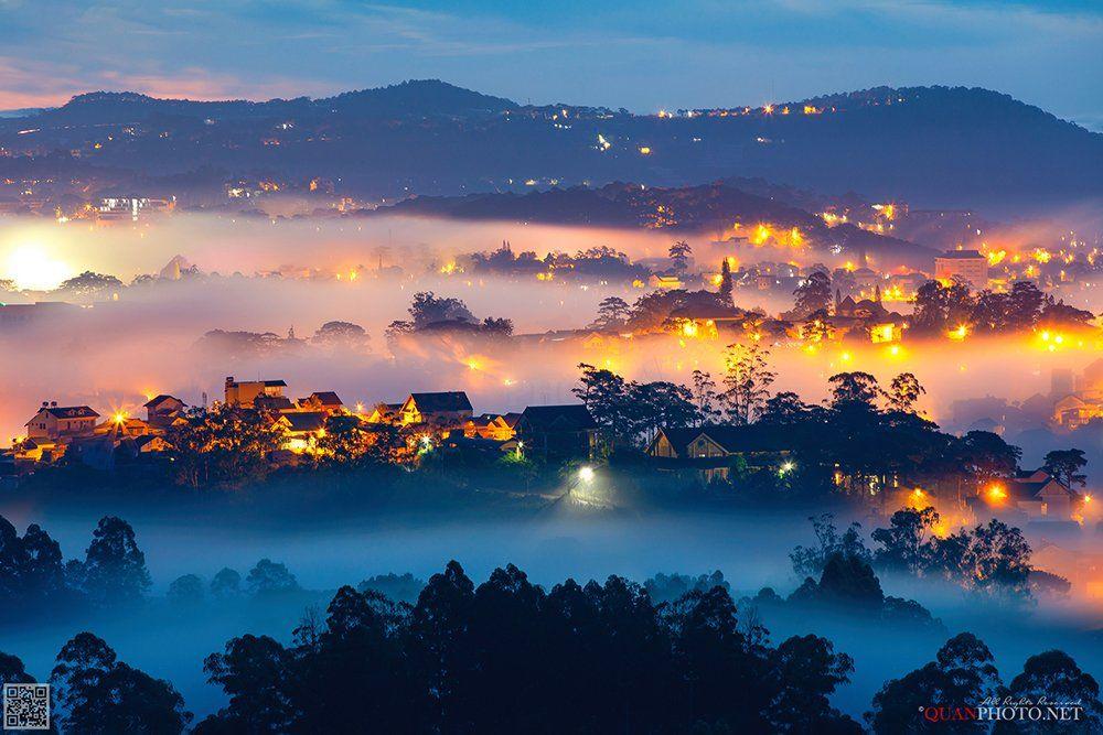 quanphoto, landscape, city, morning, sunrise, dawn, hill, mountains, foggy, misty, long_exposure, highland, plateau, vietnam, quanphoto