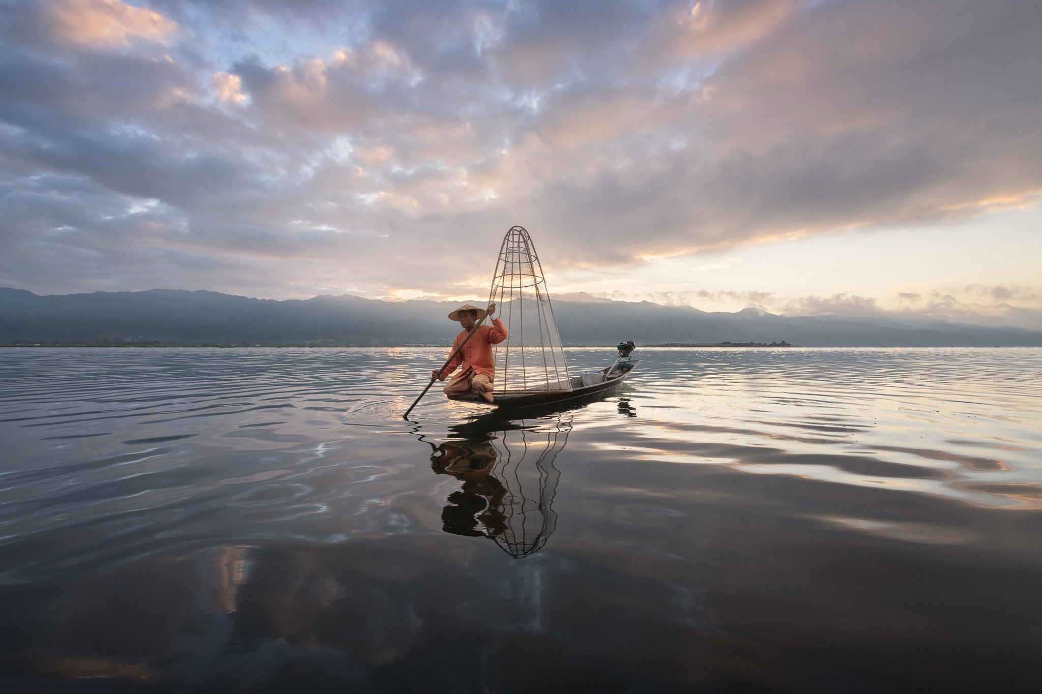 asia, asian, attraction, balance, balancing, bamboo, boat, burma, burmese, canoe, catching, clouds, countryside, culture, dawn, famous, fish, fisherman, fishing, inlay, inle, kayak, lake, landscape, lifestyle, local, man, morning, myanmar, nature, net, oa, Omelyanchuk Andrey