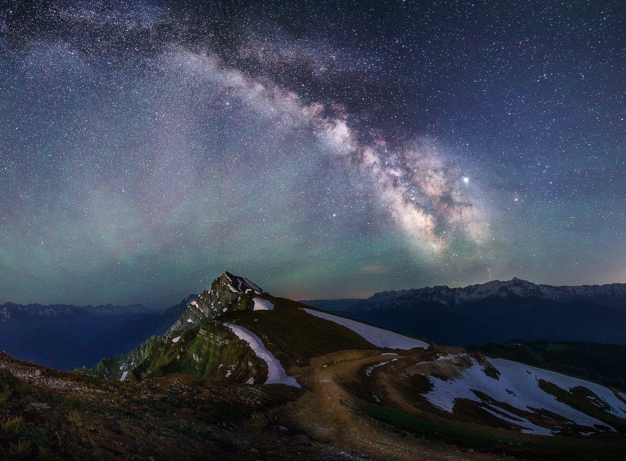 сочи, красная поляна, роза хутор, ночь, звезды, млечный путь, ночное небо, лето, природа, пейзаж, горы, кавказ, Сергей