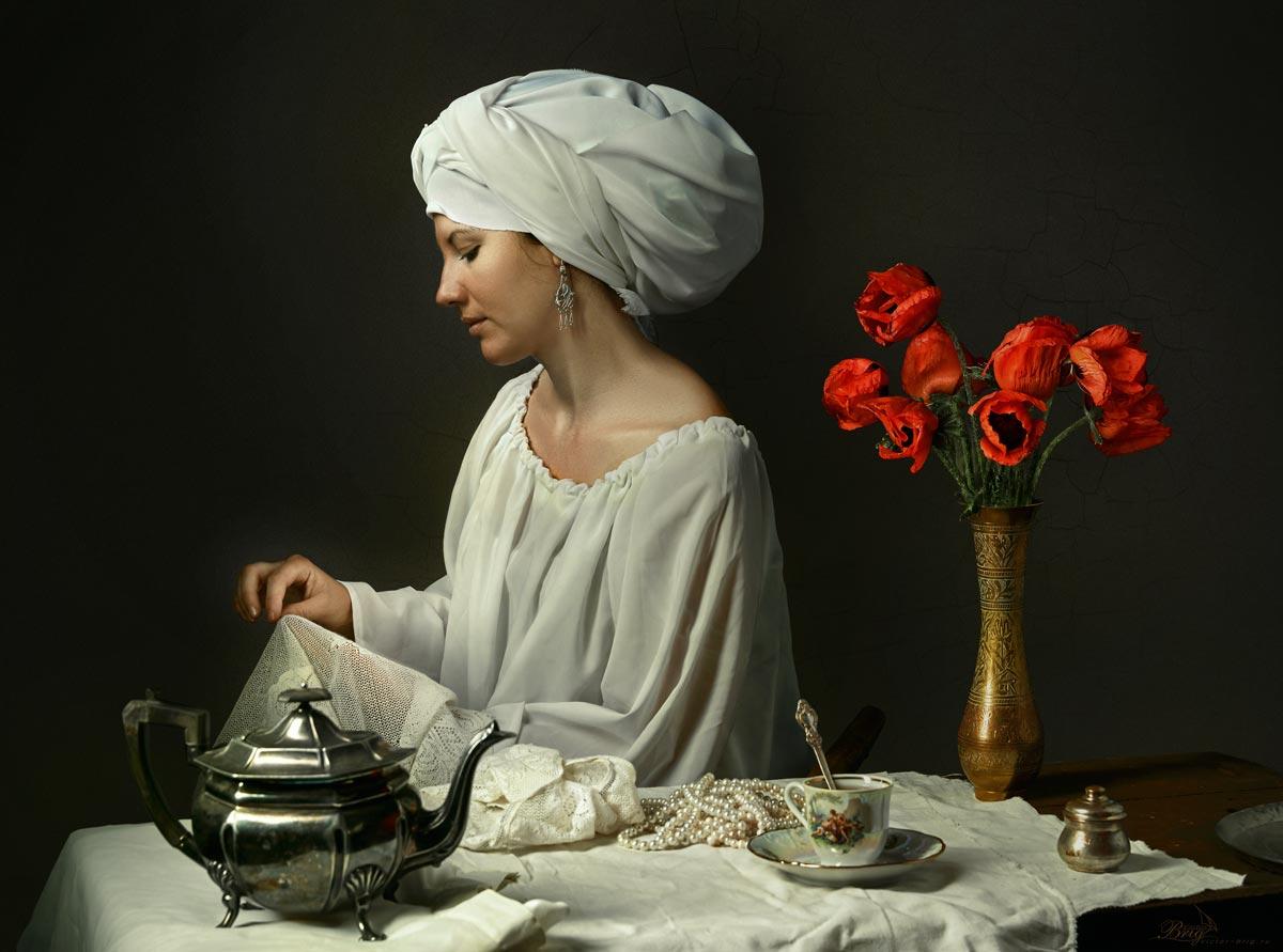 Тюрбан, вышивальщица, девушка, маки, чашка, чайник , Бриг Виктор
