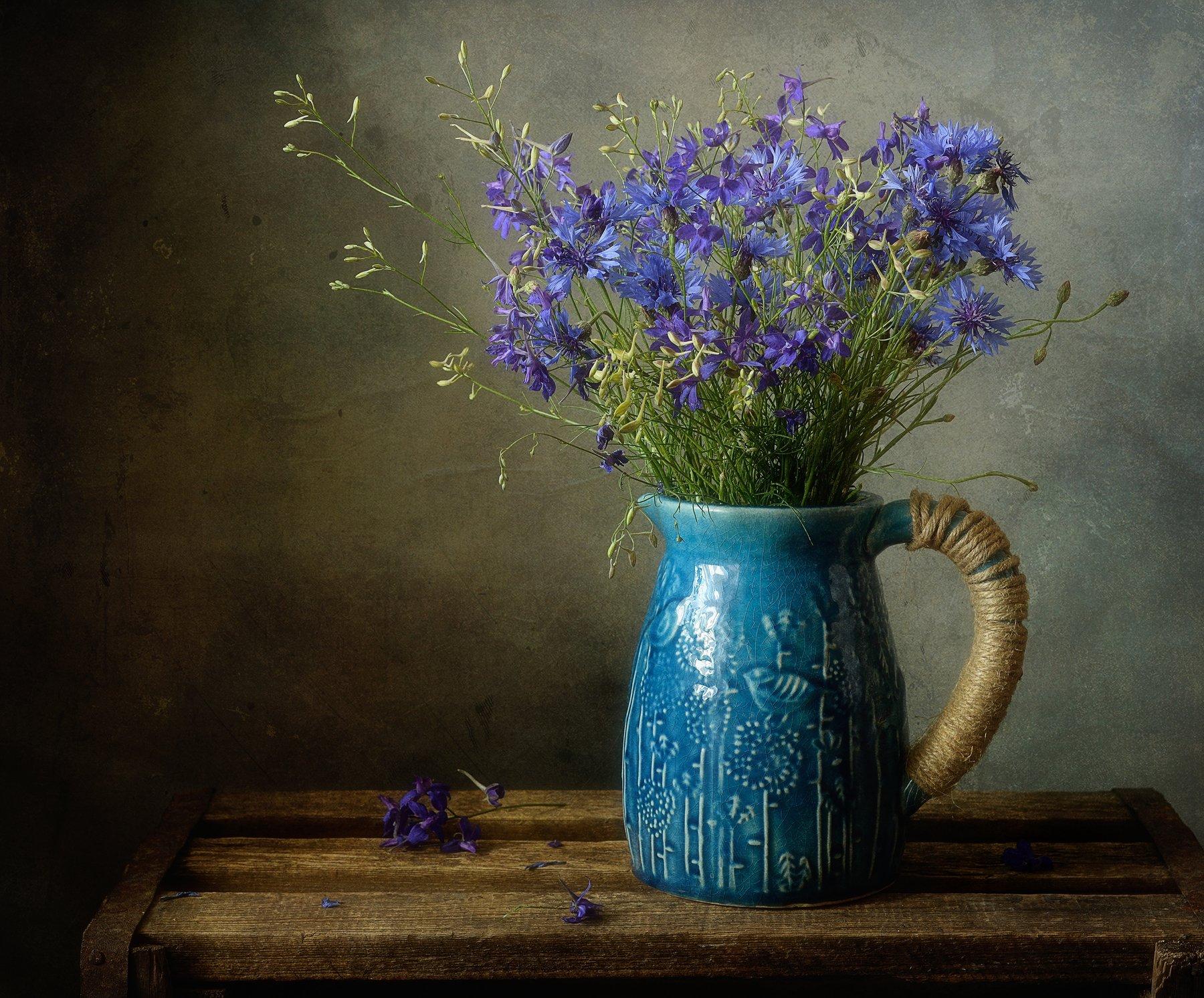 натюрморт,still life,васильки,сокирки,букет,цветы, Наталия К