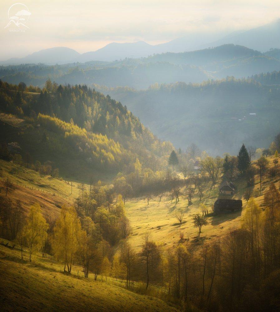 пейзаж, природа, холмы, дома, румыния, Гордиенко Анатолий