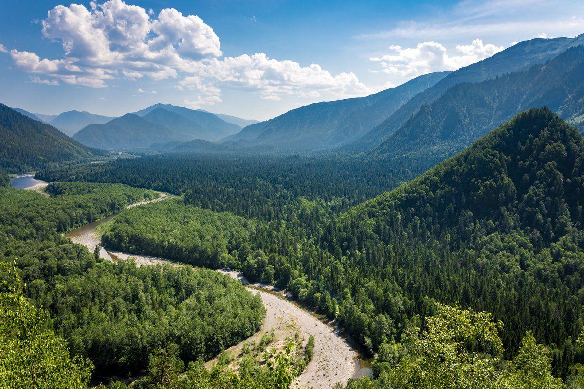 иркутская область, долина реки снежная, пейзаж, горы, распадок, лето, теплые, озера, Вячеслав Мельников