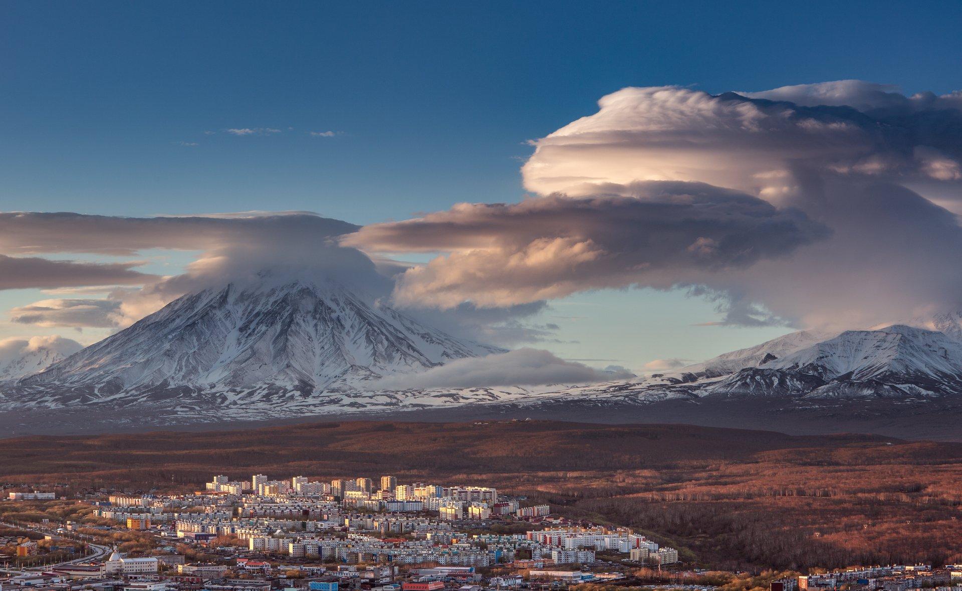 камчатка, корякский, вулкан, закат, Максин Александр