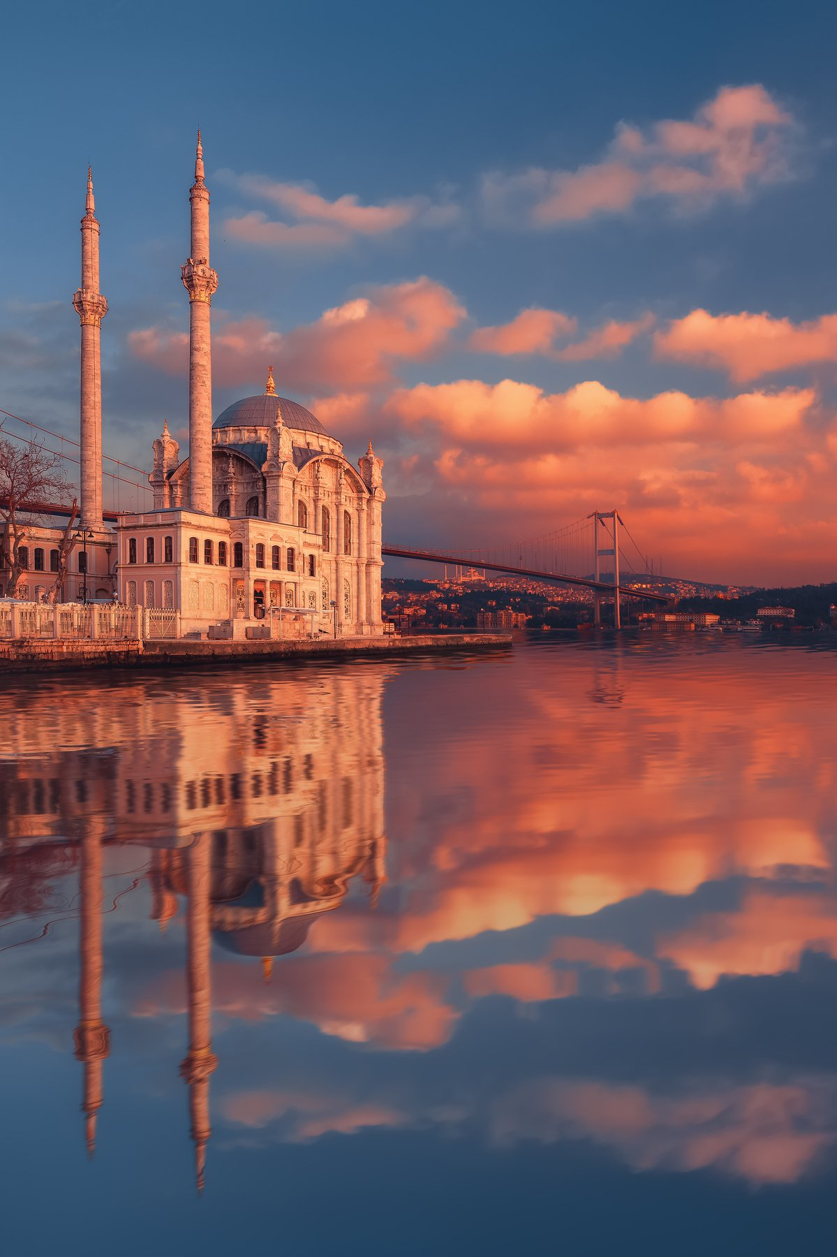 ortakoy mosque, istanbul,  mosque, reflection, sunset, water, вода, закат, мечеть, стамбул, турция,, Мазурева Анастасия