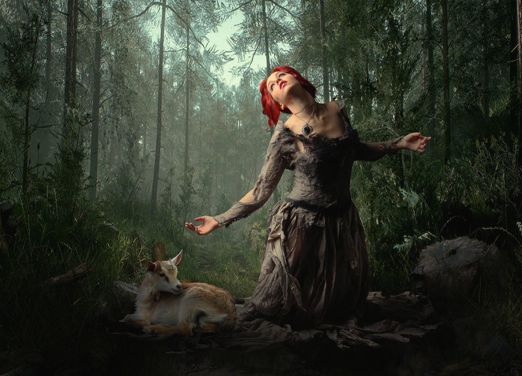 девушка, лес, козленок, Sergii Vidov