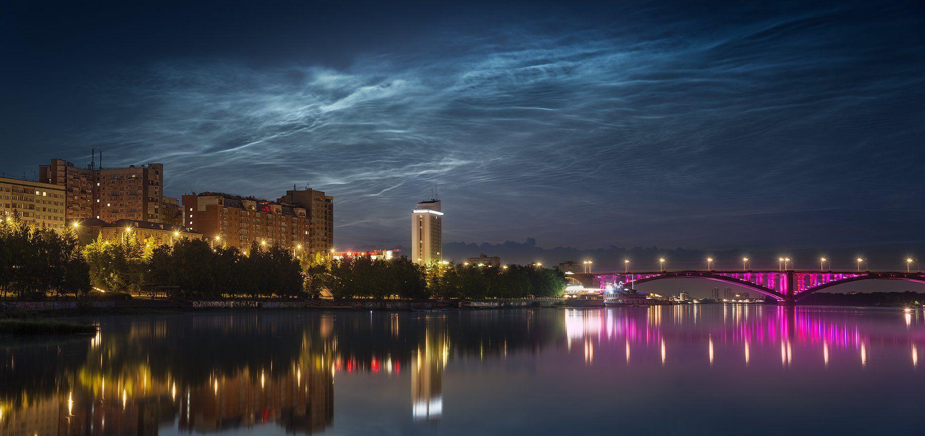 пейзаж, природа, город, небо, облака, серебристые, ночь, панорама, река, енисей, красноярск, мост, подсветка, набережная, отражение, архитектура, широкий, большой, красивая, свет, Антипов Дмитрий