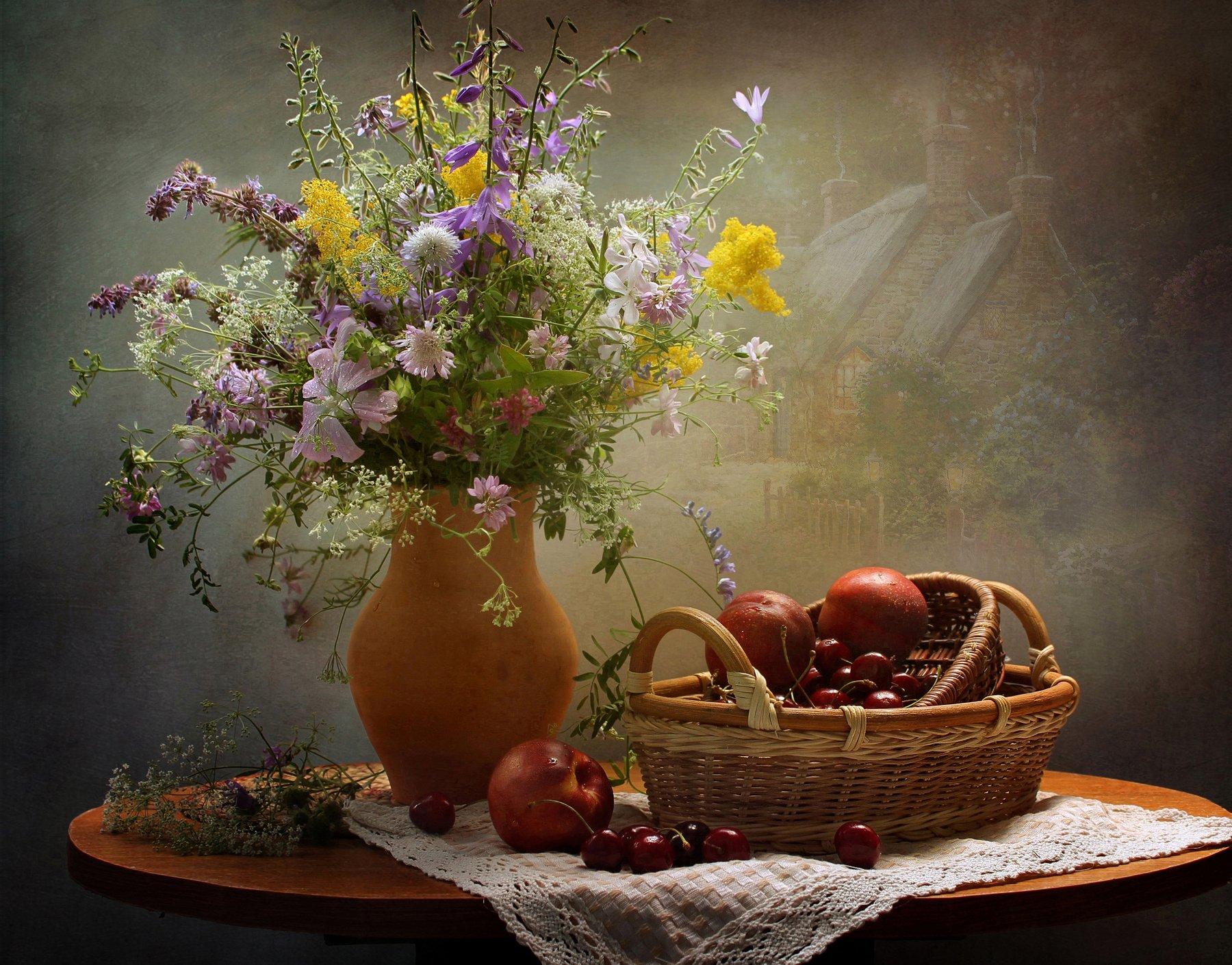 натюрморт, лето, цветы, фрукты, Ковалева Светлана