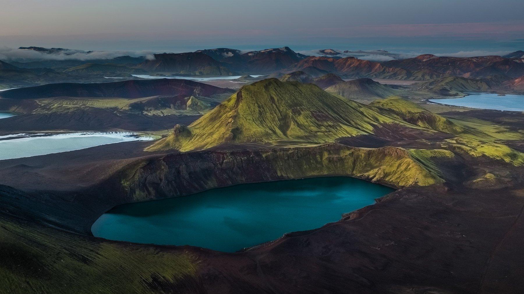 bláhyliur,аэрофотосъёмка,пейзаж,горы,исландия, Stepanov Ruslan