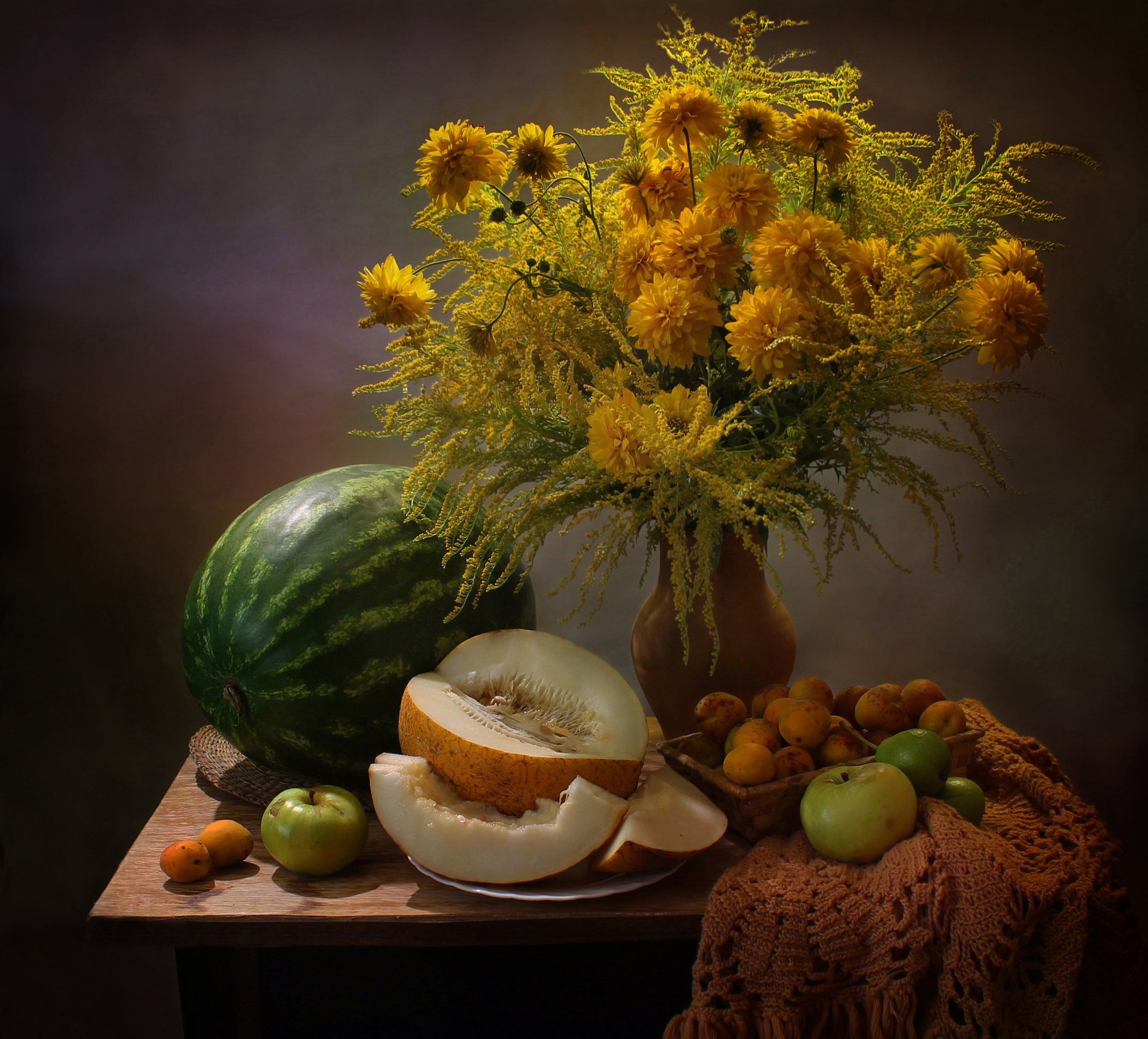 лето, натюрморт, цветы, фрукты, арбуз, дыня, Ковалева Светлана