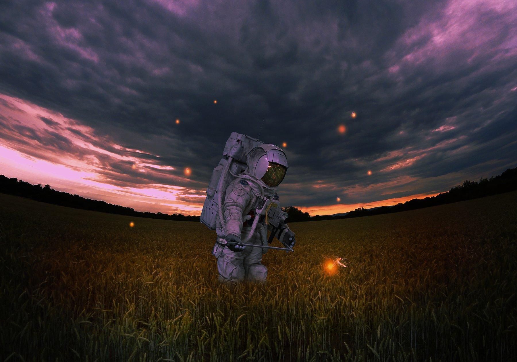 космонавт, поле, светлячки, космос, Sergii Vidov