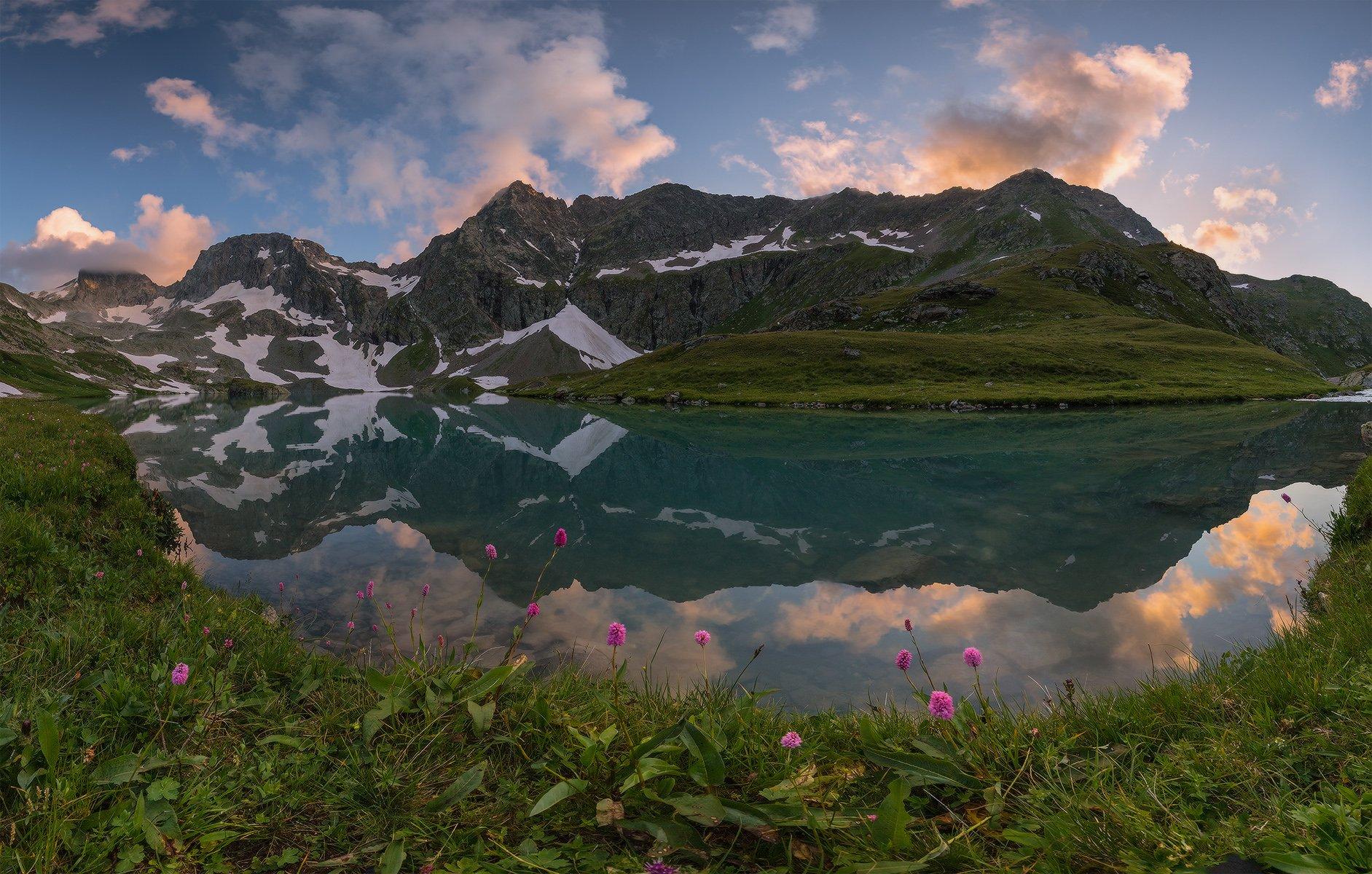 северный, кавказ, большое имеретинское озеро, вечер, июль,, Николай
