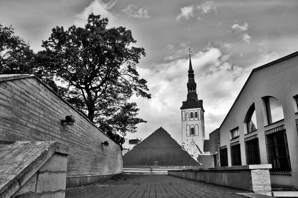 город, крыши, церковь, чб, таллин, апатиты, Николай Смоляк