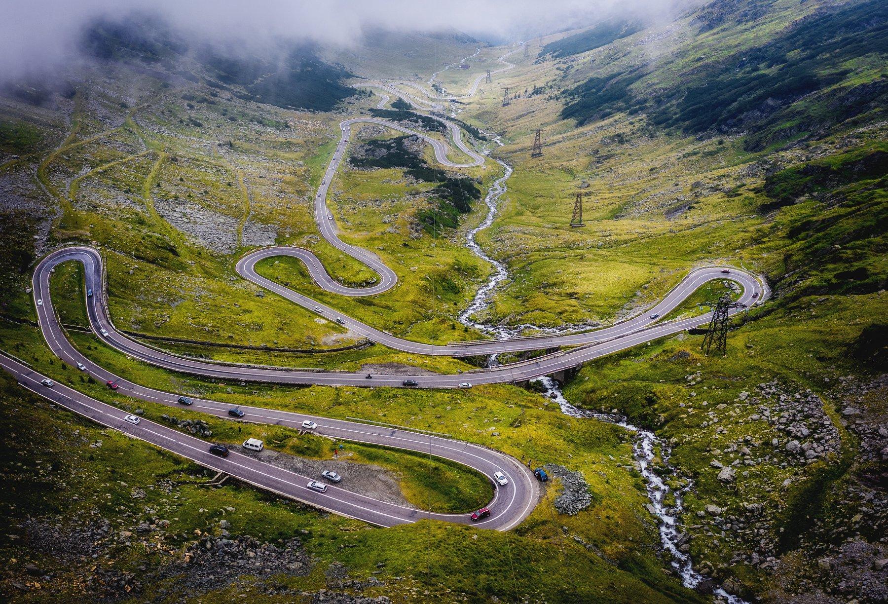 romania, road, aerial, drone, landscape, Дмитрий Иванов